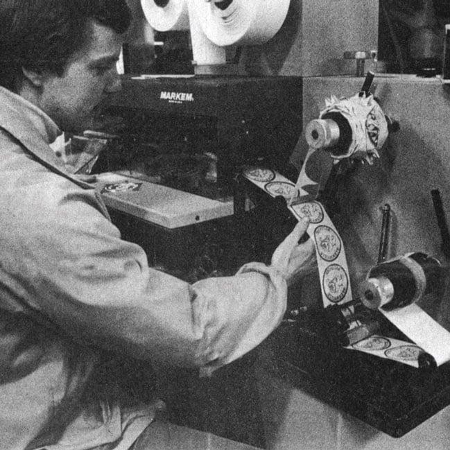 Century Label print production area circa 1982.