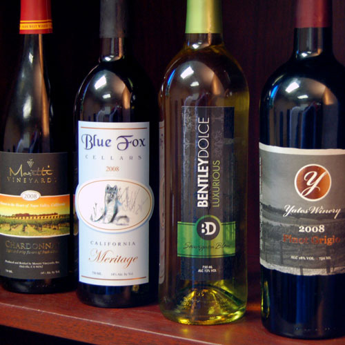 Various wine labels printed multi-process, including hot stamp embellishments