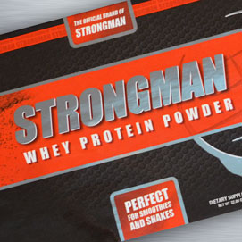 Strongman Whey Protein Powder Label
