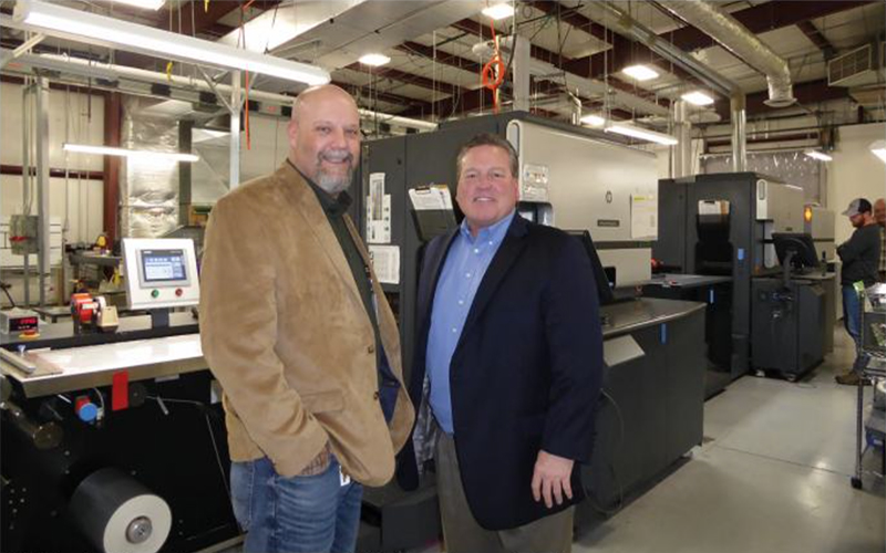 Todd Frendt, right, and production manager Jeff Atkin at Century Label