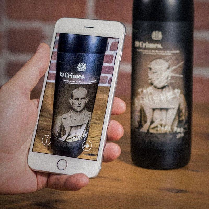 AR-enhanced    living wine labels    from 19 Crimes