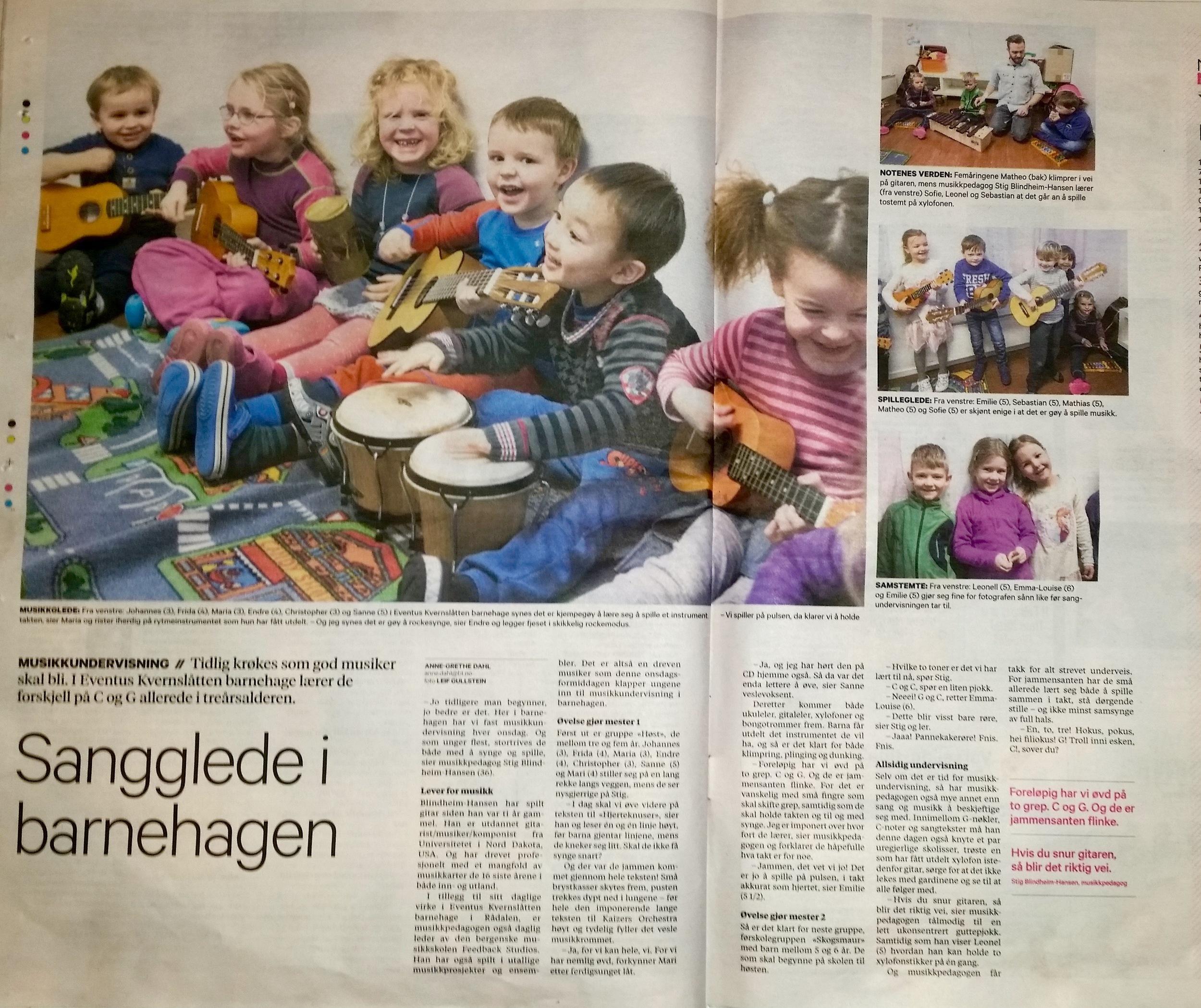 Musikkundervisning i Eventus Kvernslåtten Barnehage i Bergen. (fra Bergens Tidene 5. Februar)