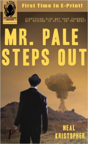 "MR. PALE STEPS OUT -  Buy it on AMAZON    1959 - A series of biologically enhanced bombs are detonated across the country. In the midst of a heist in Utah, Mr. Pale is trapped in an underground bomb shelter.   1963 - Mr. Pale emerges in a foreign land of death and hardship. Over half of the population has been wiped out and those that survived are caught between mutant animals, the walking dead and horrible diseases. Bands of violent gangs rule the West, ravaging half-filled towns and taking any precious supplies they can find. Mr. Pale finds himself at a temporary impasse. For the first time in his life he doesn't have a plan. Until he finds a family brutally slaughtered by the local gang, a fierce group called the Recruiters. Because there's one thing Mr. Pale knows how to do very well - get revenge!   MR. PALE STEPS OUT is the first in a series of ""Noirvellas"" set in a post-apocalyptic version of 1963 and is inspired by the pulp crime and thriller novels from that fantastic era."