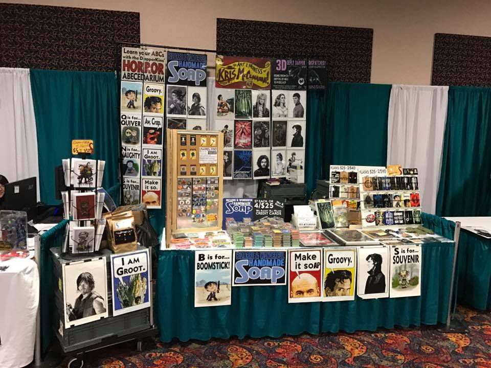 """My place is usually tidier than this..."" ...My Hodge-podge Table at Rocky Mountain Con - I can't wait for you to see the new banners and table layout we've readied for Plant Comicon!"