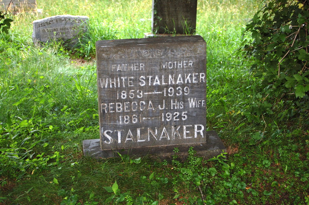 Stalnaker Cemetery at Beverly Hills is located south of Beverly, West Virginia on route 219/250 about 1 mile. Turn left on Mount Vernon Road and go to first road on the right.  Go up the hill to the forest intersection and then right again to go to the end of that road. The cemetery is at a dead end. Most of the headstones are upright, 2 are lying down, 3 damaged, 5 creek rock and about 20 are unmarked. Inventoried by Phyllis E. Daniels, September 1992 and photographed by Nancy Stalnaker Bundy July 2007.