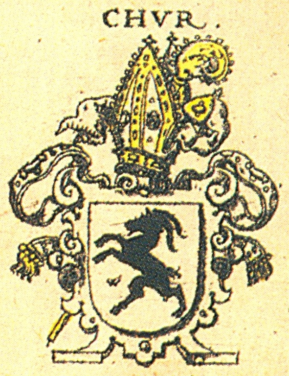 Here is a 17th century wappen (crest) of the Bishops of Chur, in Switzerland. The area (landkreis) of Reutlingen was owned and ruled by them in the 17th century and before, and was the birthplace of Adam Stalnaker, father of Johan Jacob Stalnaker who married Anna Barbara Schreiber, and who may have been our immigrant ancestor. - Lisa deGruyter