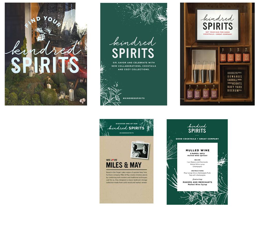 West Elm Christmas Display.Branding Signage Carol Hayes Design