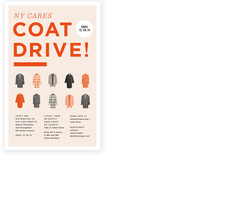 INTERNAL POSTER FOR WEST ELM / NY CARES COAT DRIVE