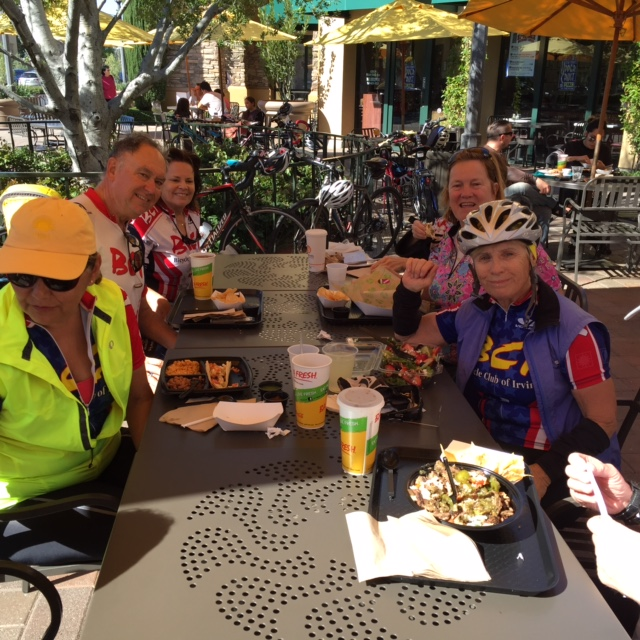 Baja Fresh was popular at this table - hungry riders appreciated their generous 20% discount.