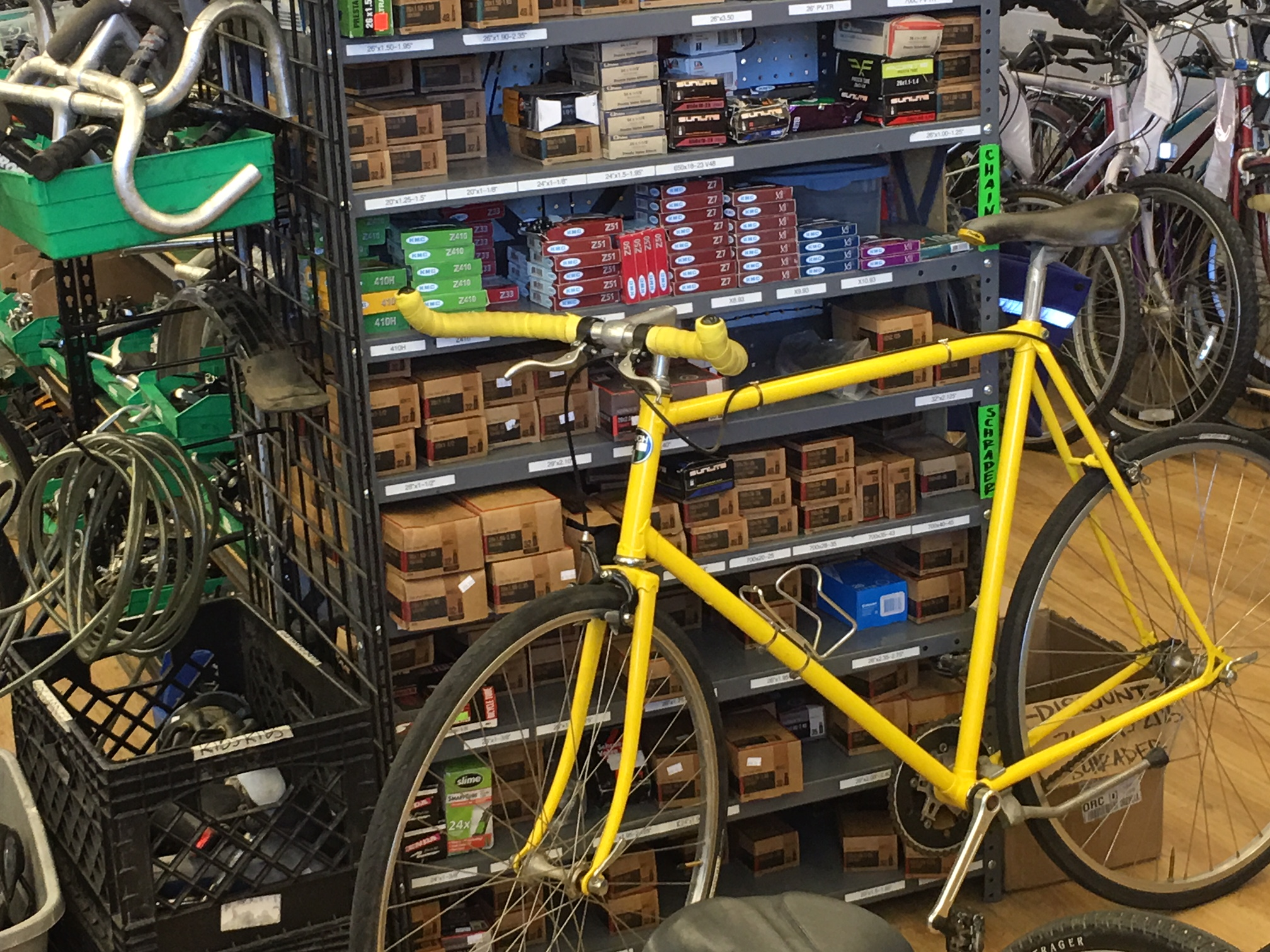 Paul Maull's Tall Yellow Fixie will be a hit & soon to be seen cruising around Santa Ana with a new owner!