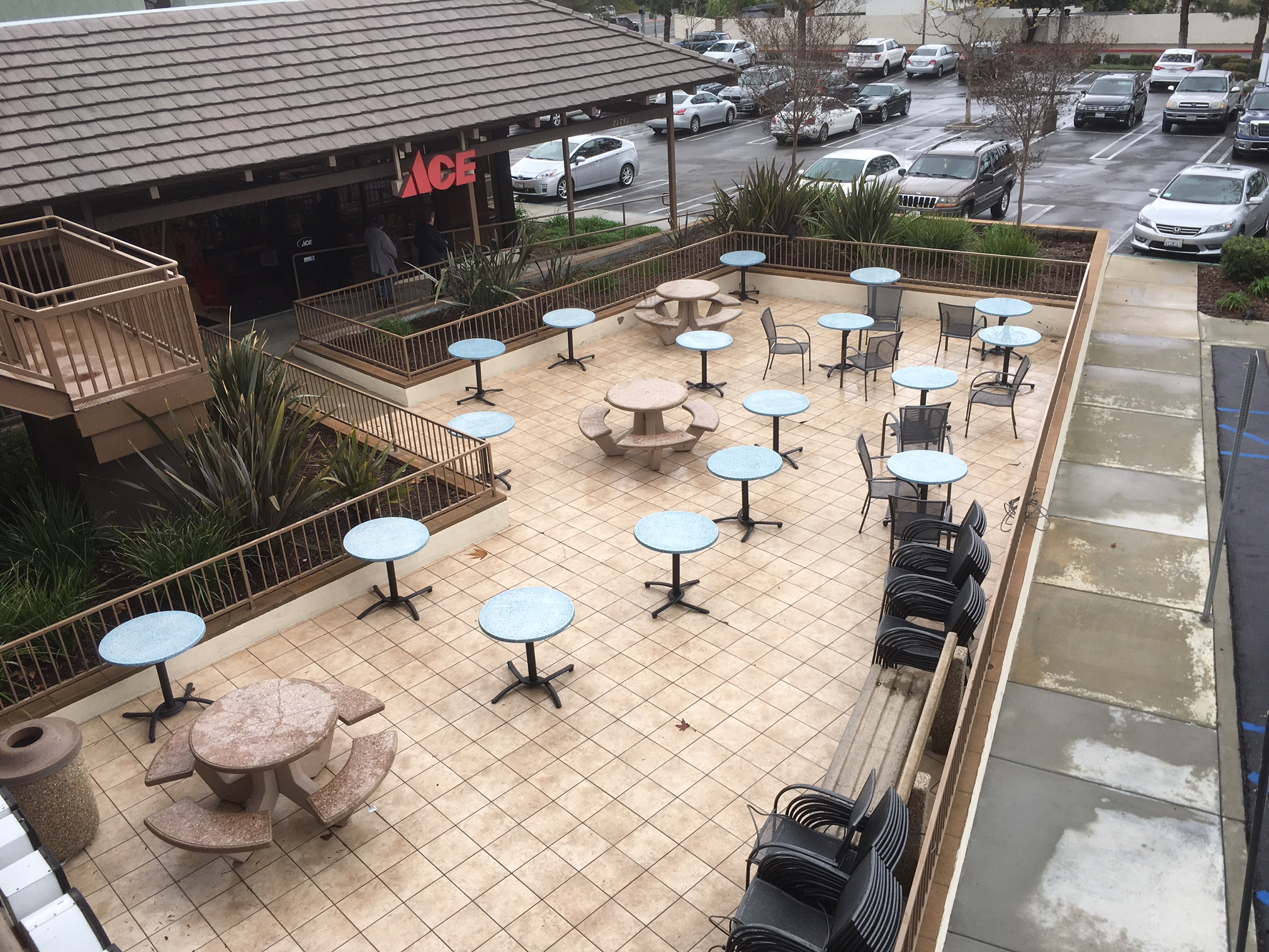 Plenty of seating & bike parking across the lot in front of the Ace Hardware store.