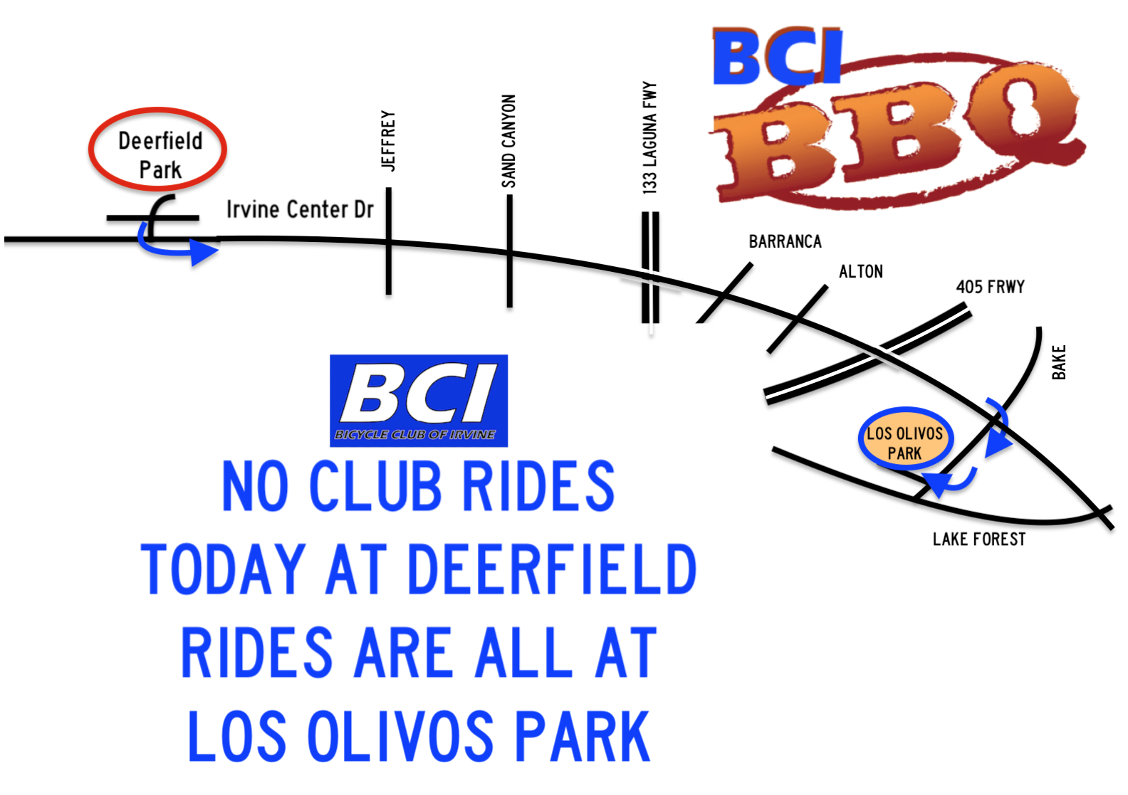 Map from Deerfield Park to Los Olivos Park (not to scale)