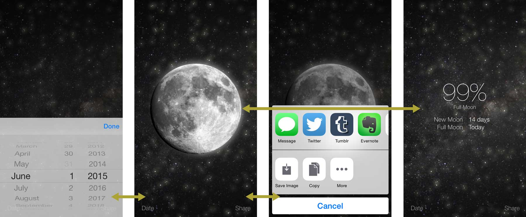 moon phase app screenshot iOS iphone