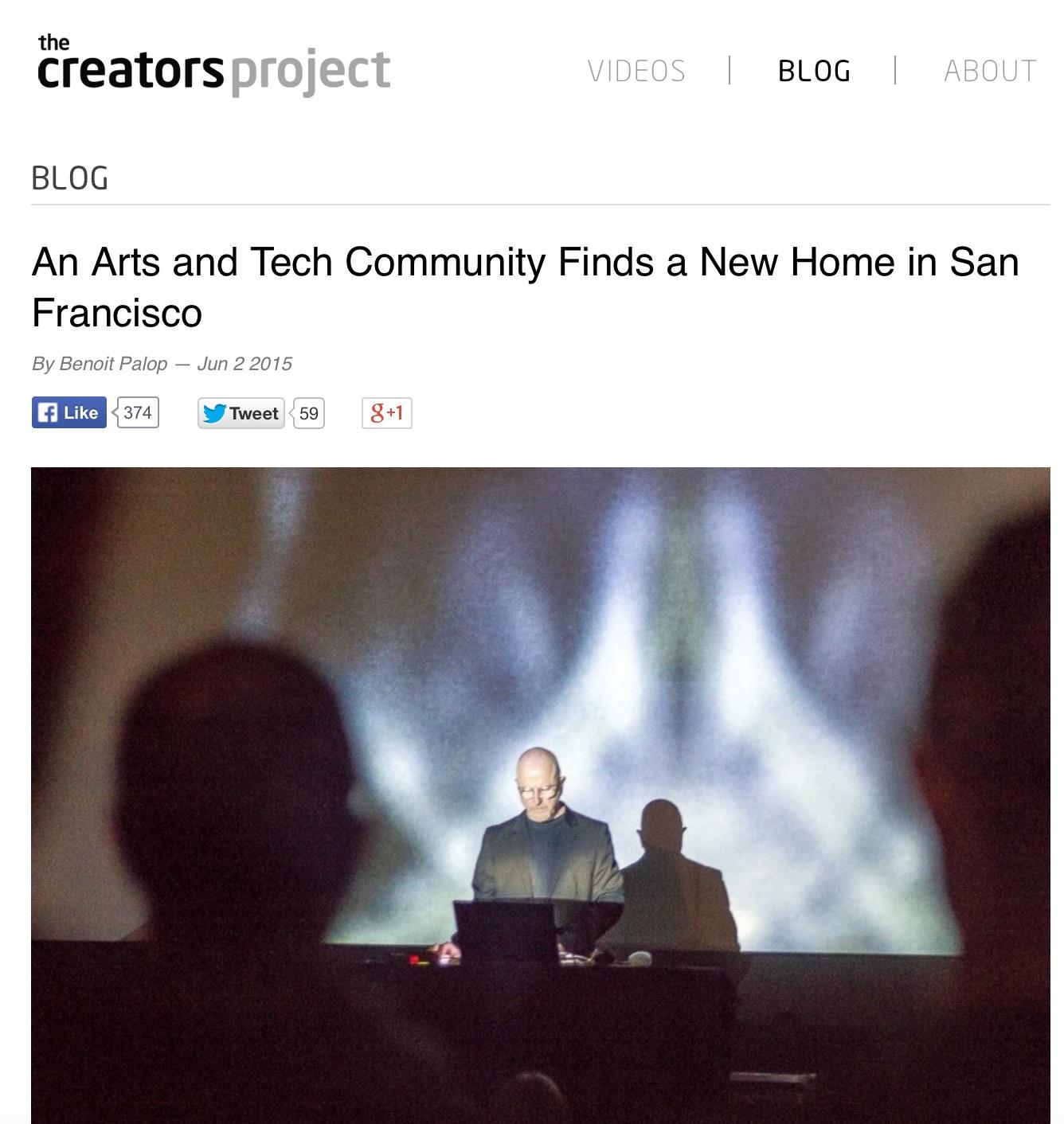 Screenshot of the Creators Project article.