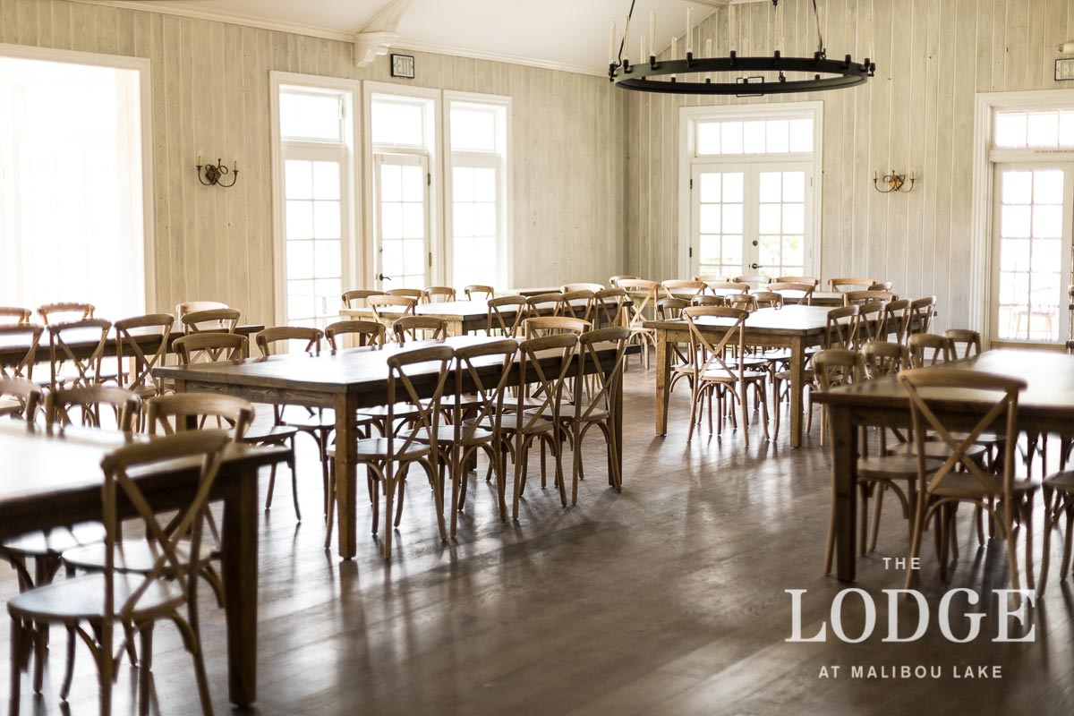 Farmhouse Tables and Dining Chairs in our Ballroom