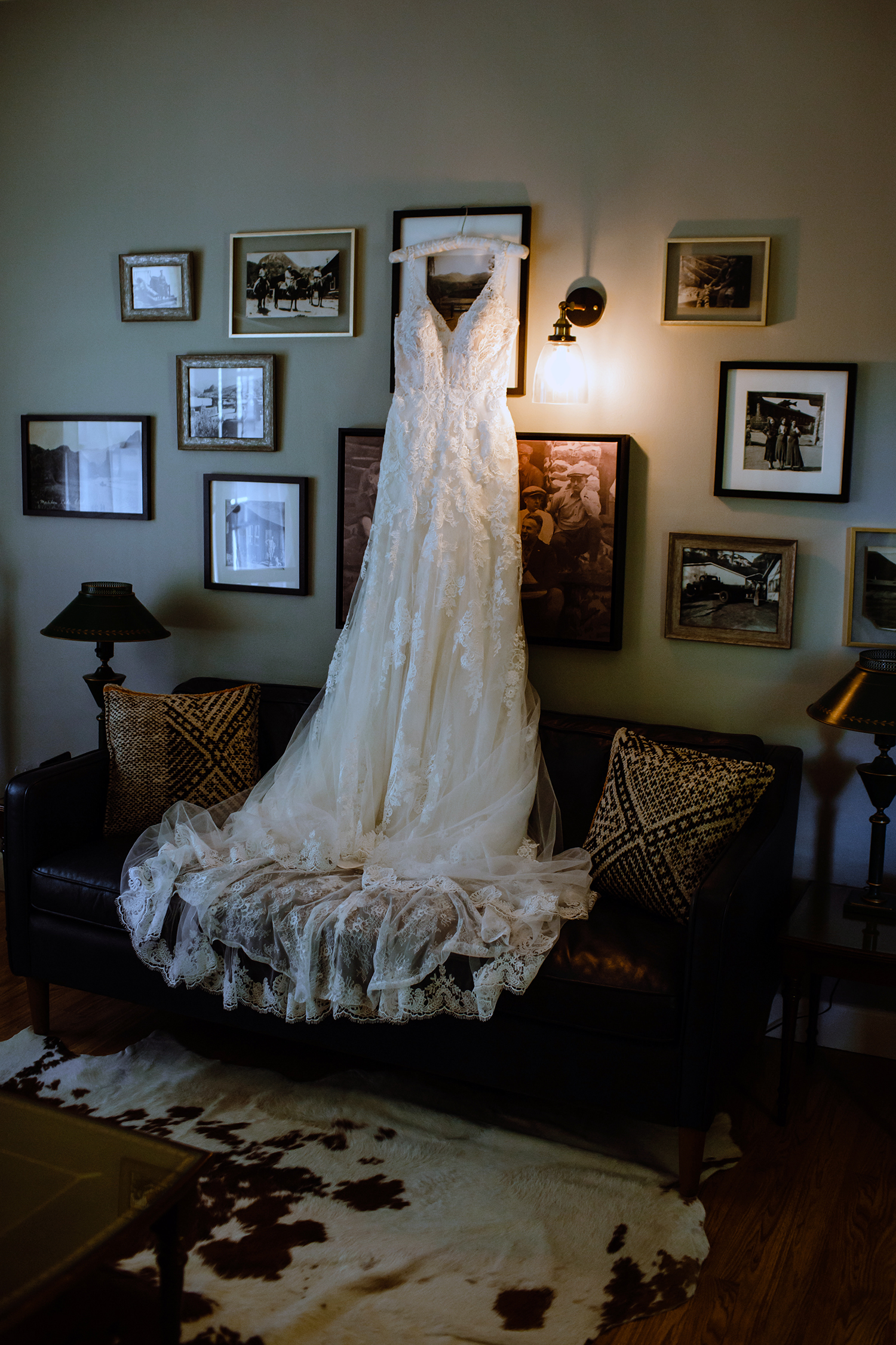 Alla's Wedding Dress in the Green Room