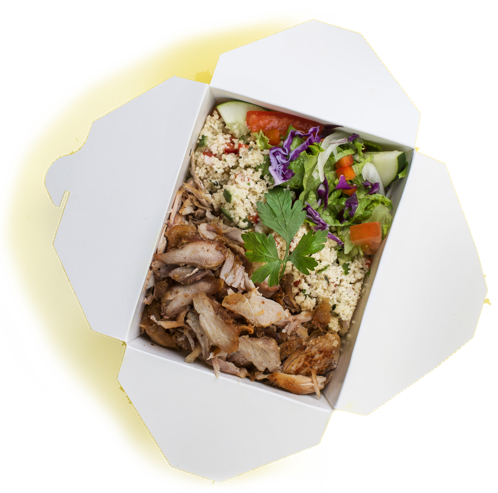 DÖNER TELLER - SMALL:VEAL & LAMB ……….$11.75CHICKEN ………………$10.95HALLOUMI ……………$10.95GEMÜSE (veg) ………$10.75LARGE:VEAL & LAMB ……….$14.95CHICKEN ………………$13.95HALLOUMI ……………$13.95GEMUSE (v) ………….$13.50PICK SIDES:•Fries •house Salad •Couscous (+$1)SAUCE:•Garlic Sauce •Yoghurt •Hot Sauce