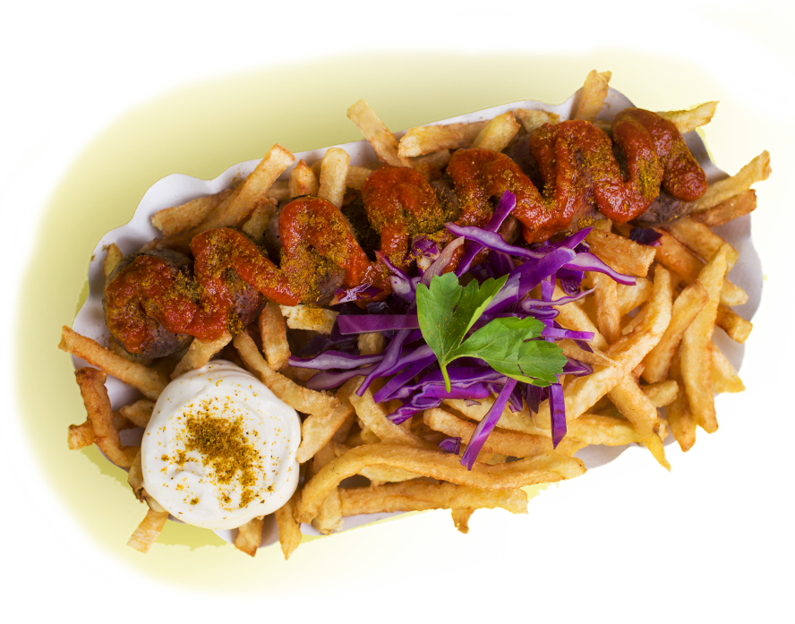 CURRYWURST - BRATWURST (PORK)SMALL………… $8.95LARGE………… $10.95SEASONALSMALL………… $MPLARGE………… $MPPICK SIDES:•Fries •house Salad •Couscous (+$1)Served With Our Own Curry Ketchup