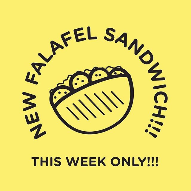 AHEM🚨🚨🚨New falafel sandwich! SPECIAL! This week only for our anniversary! 🚨🚨🚨