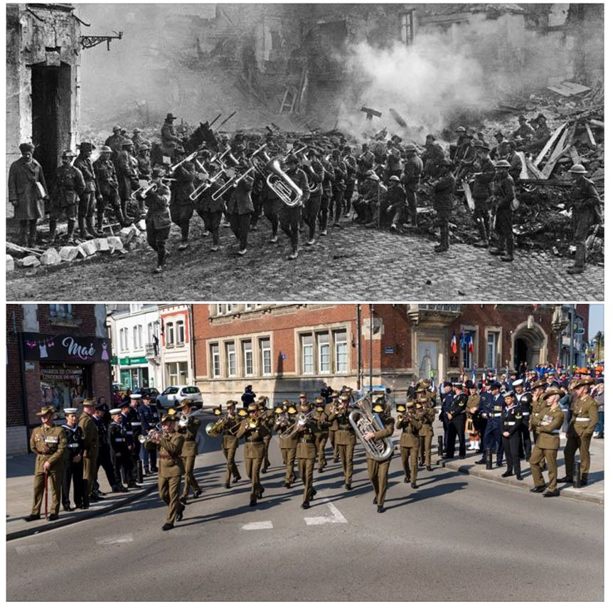 Bapaume, France 1917 and 2017. The Victoria March re-enacted. Commemorated in  2017-The night is darkest before the dawn , November 2017. Photo AWM