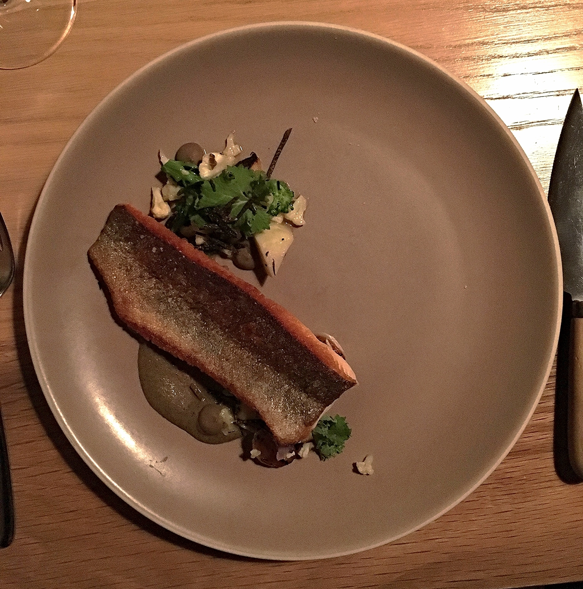 rainbow trout, brassicas, onions, black truffle