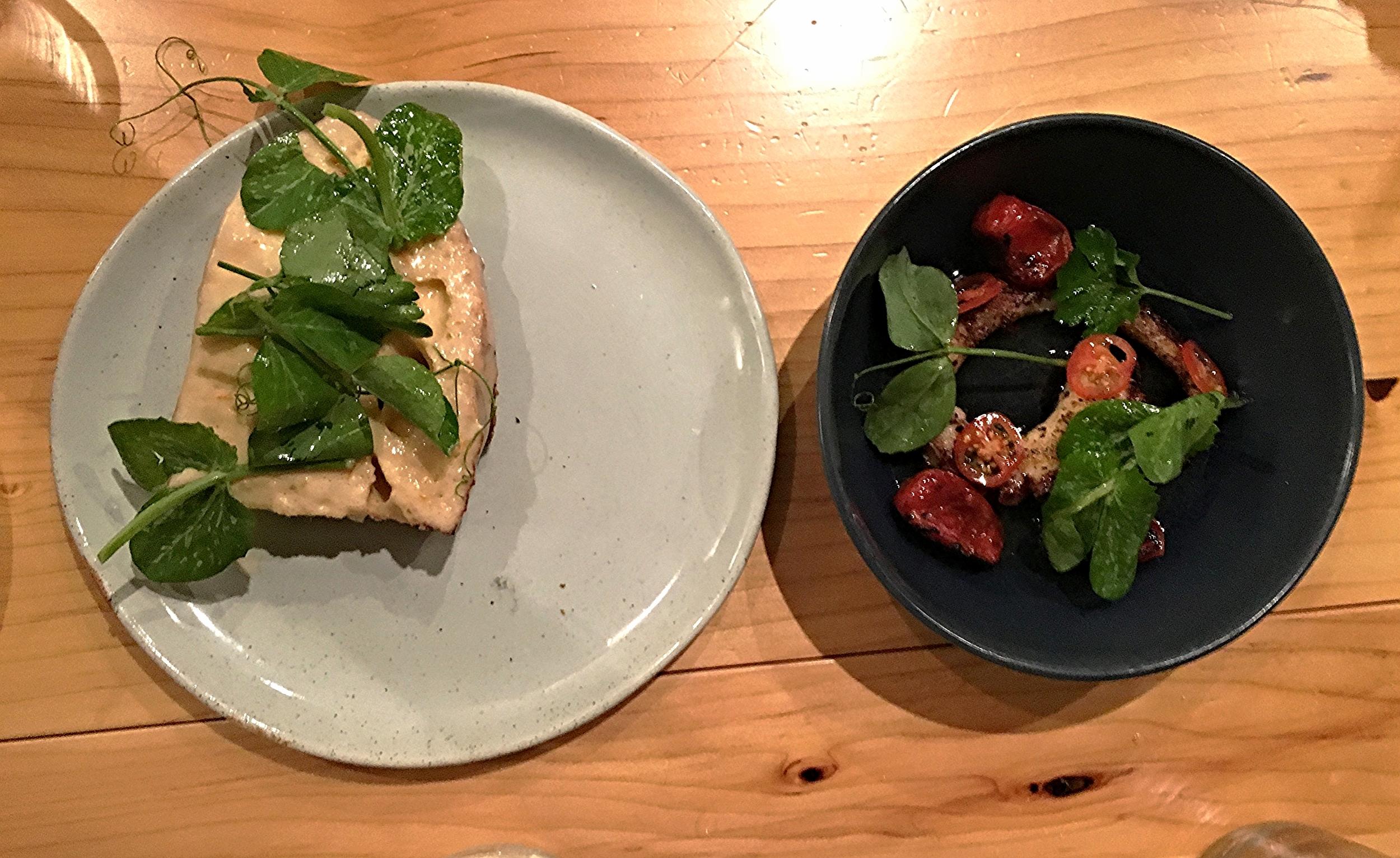 octopus, charred tomato, pea shoots, pork lardo toast