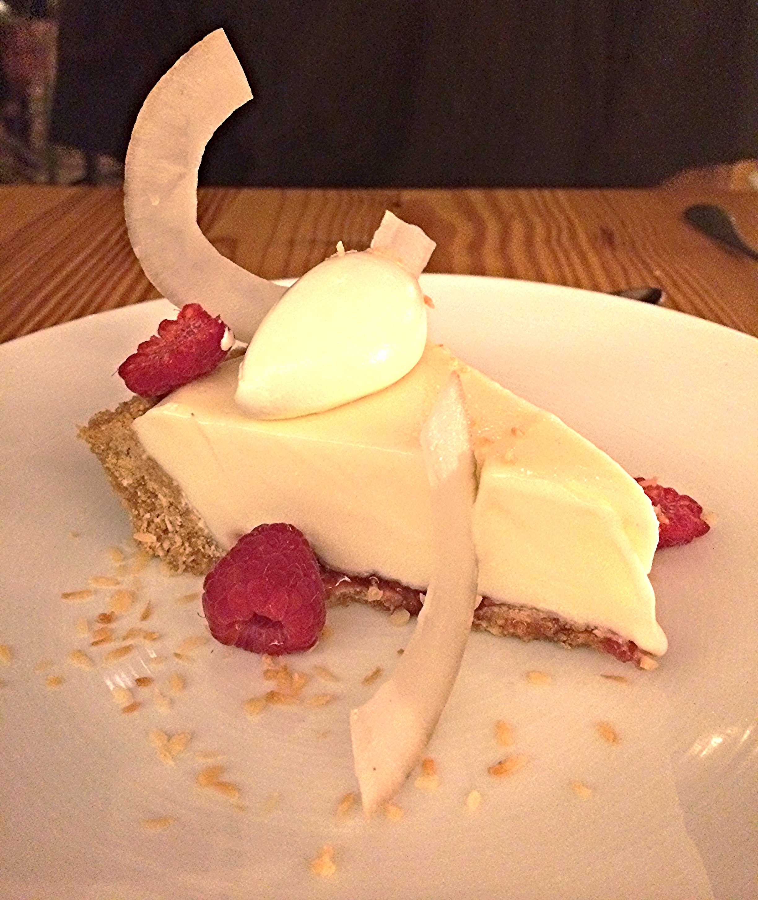 coconut ice cream pie, graham cracker crust, raspberries
