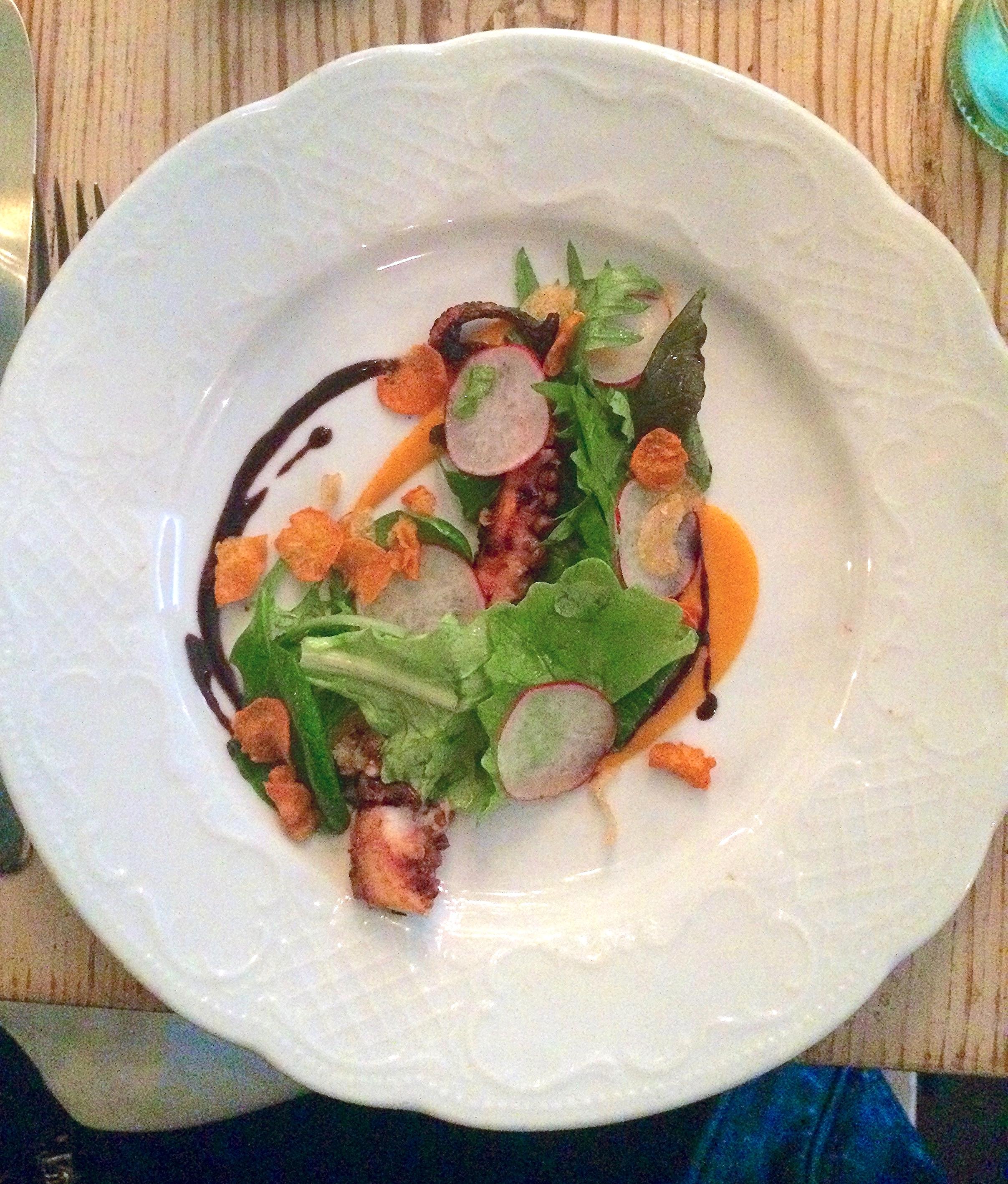 preserved lemon braised octopus, smoked sweet potato puree, black garlic, garlic chips