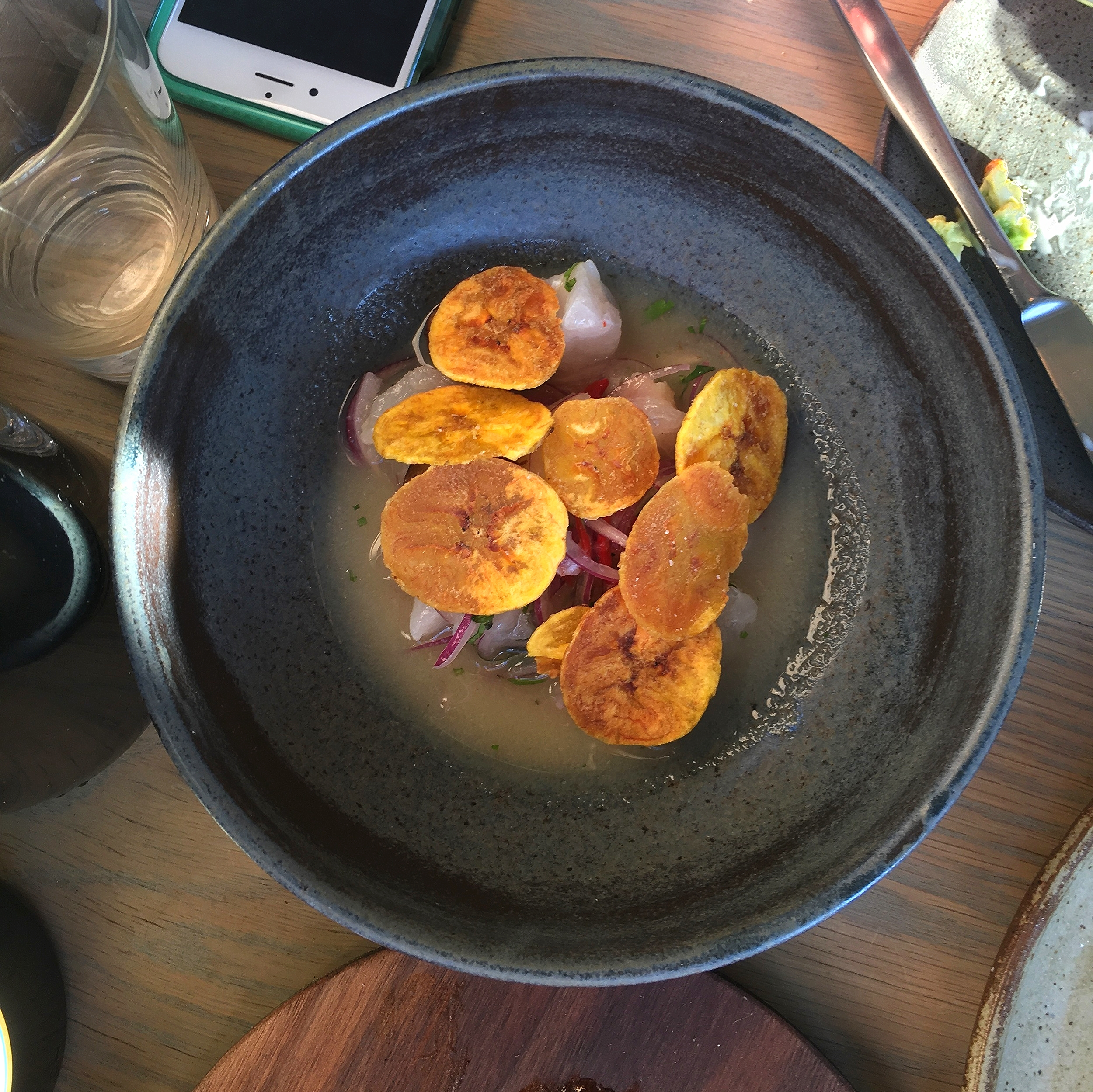 corvina ceviche, lime, dashi, plantain, habanero, red onion, cilantro