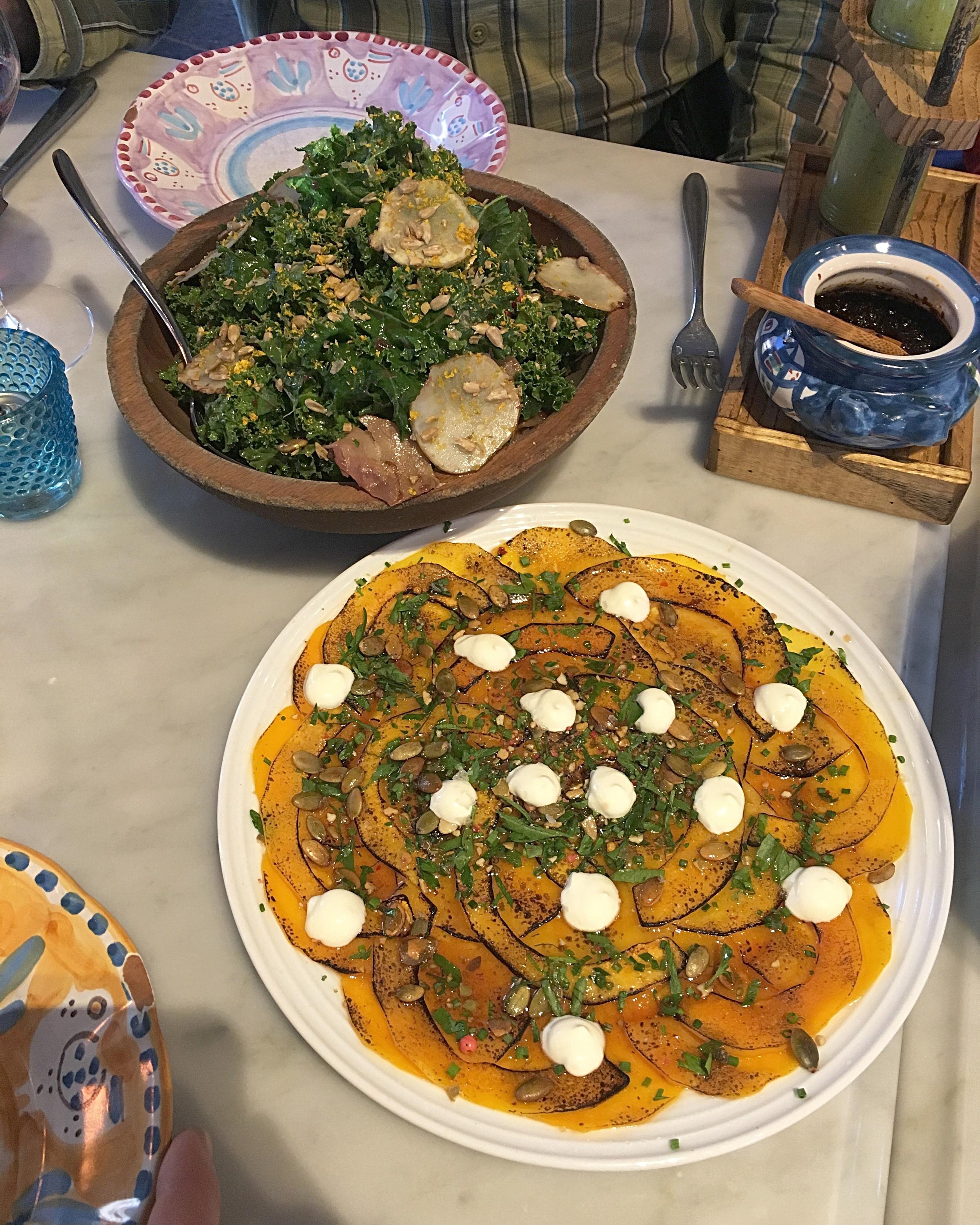 kale sunchoke salad, pomegranate// squash carpaccio, honey agrodolce,crème fraîche