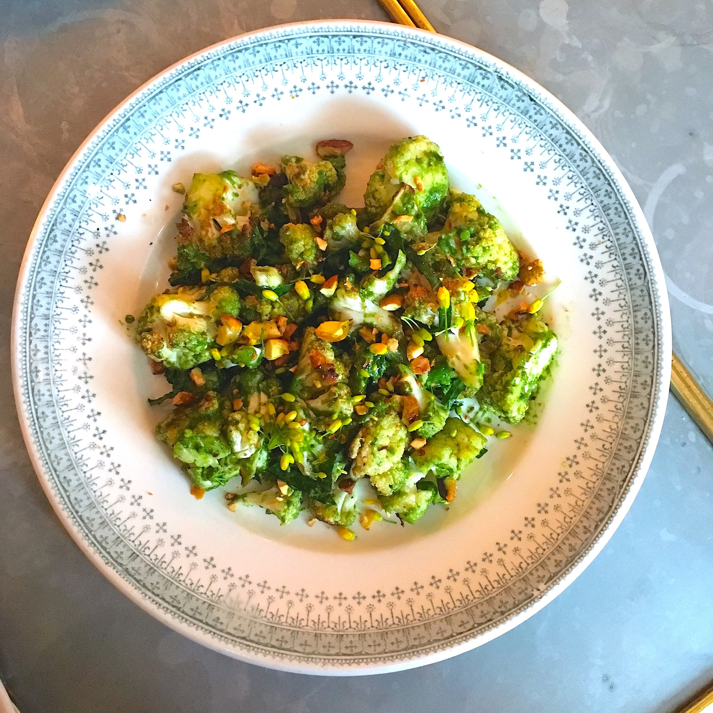 roasted cauliflower, broccoli pesto, spicy pistachio