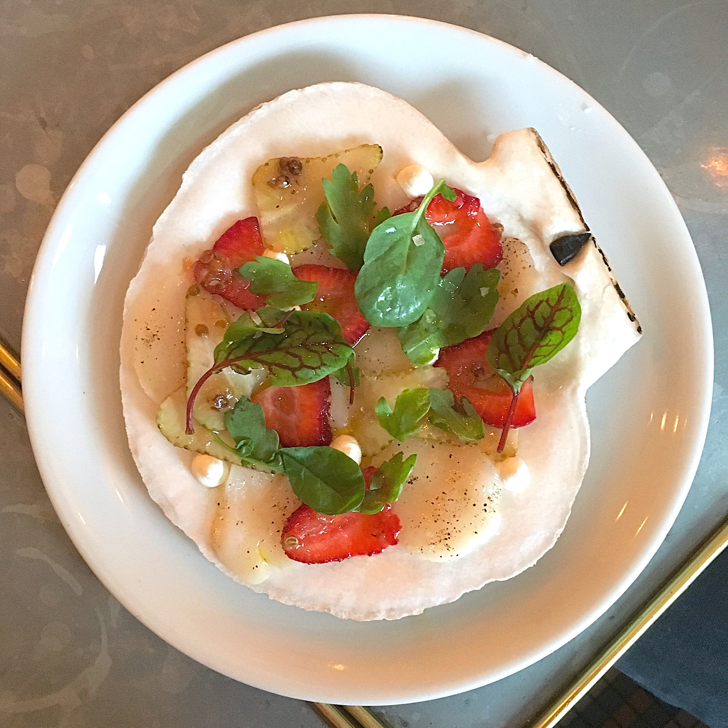 raw diver scallops, strawberry, coriander, chrysanthemum