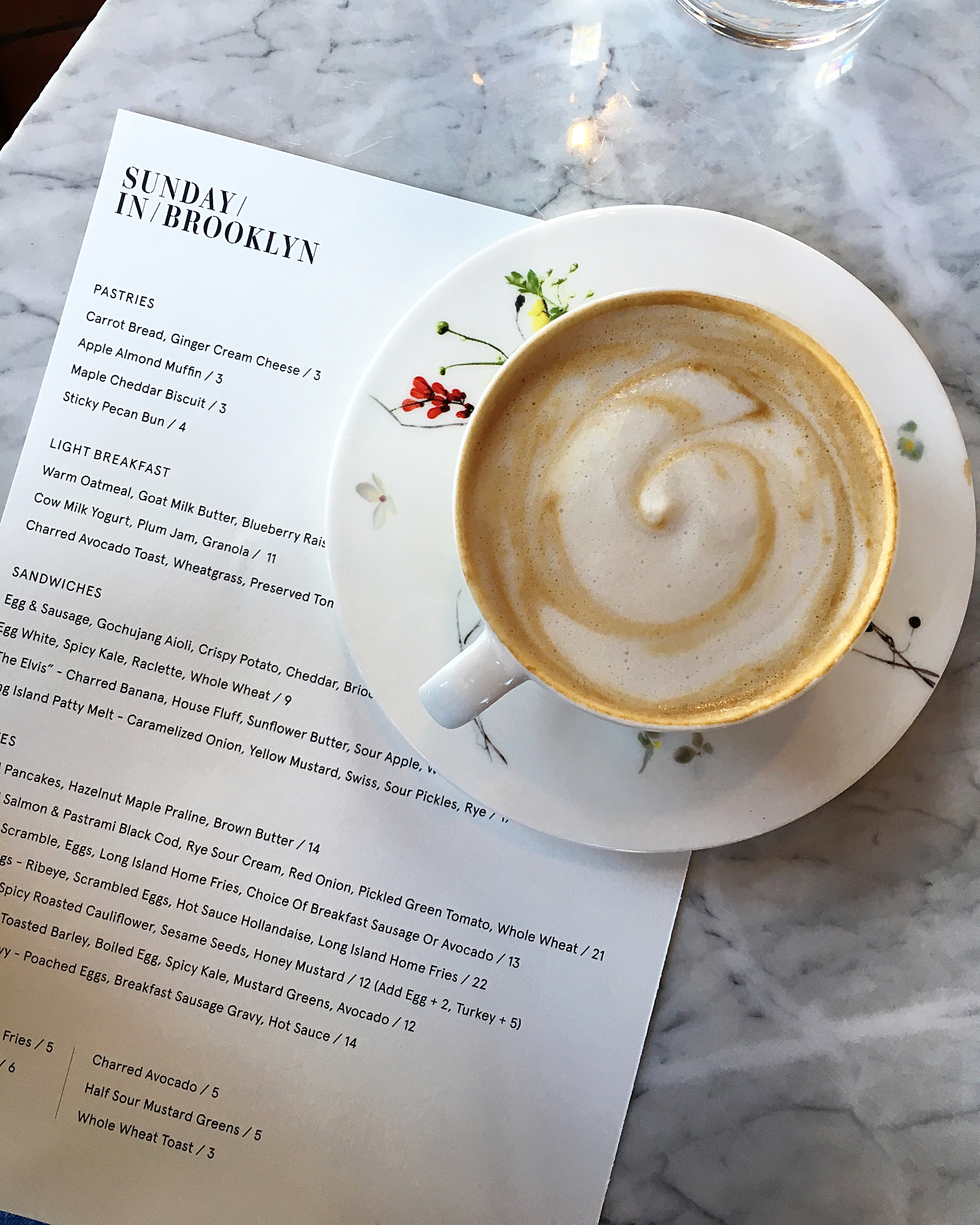 brunch menu // almond milk cappuccino