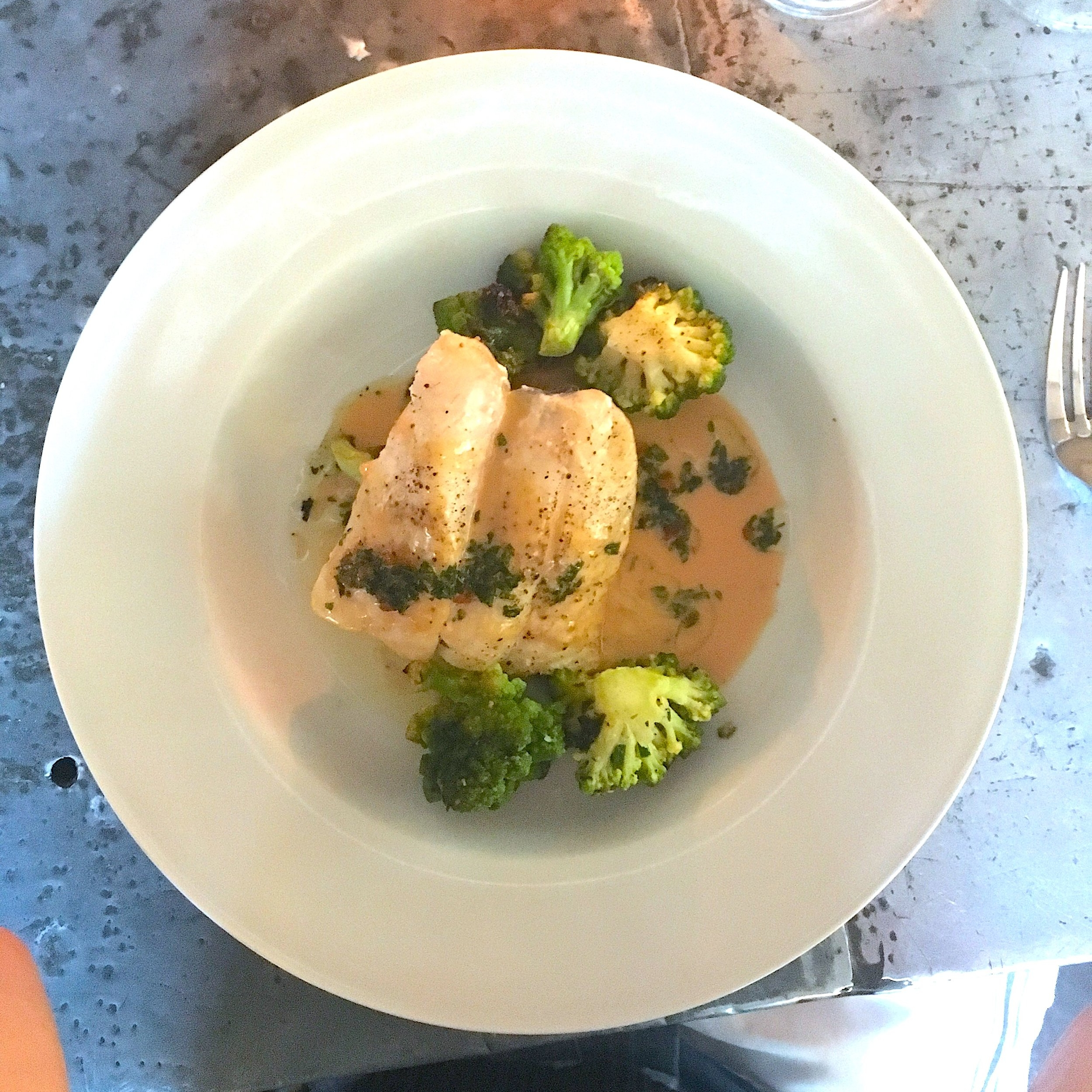wood fired day's catch // romanesco, champagne beurre blanc