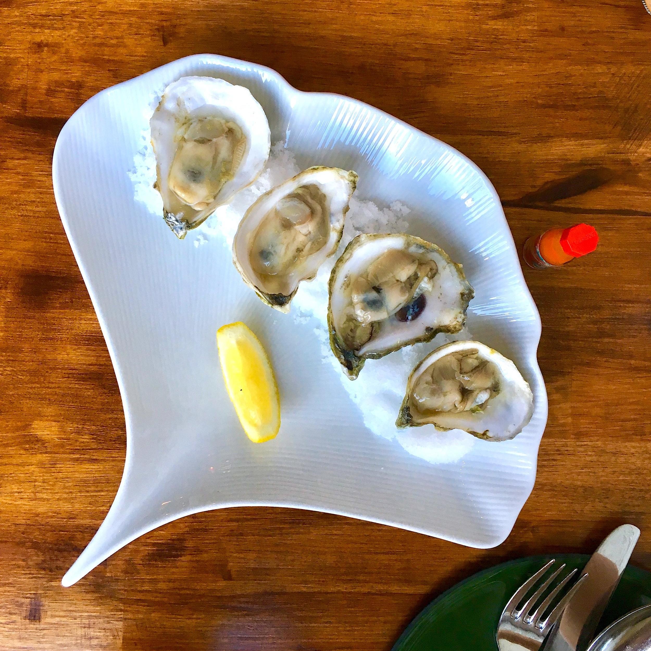 oysters & ají dulce hot sauce