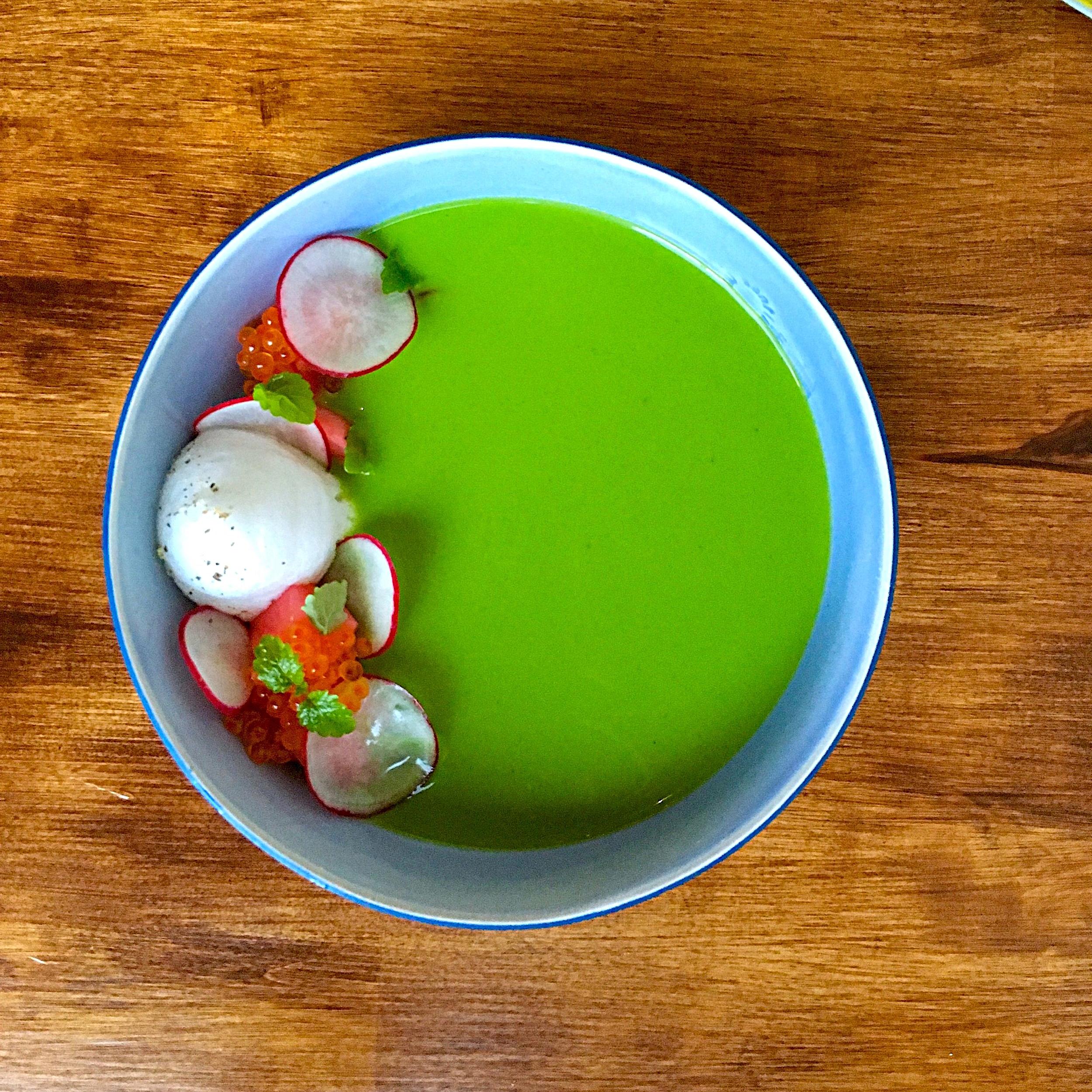 radish top gazpacho, smoked trout roe, lemon balm