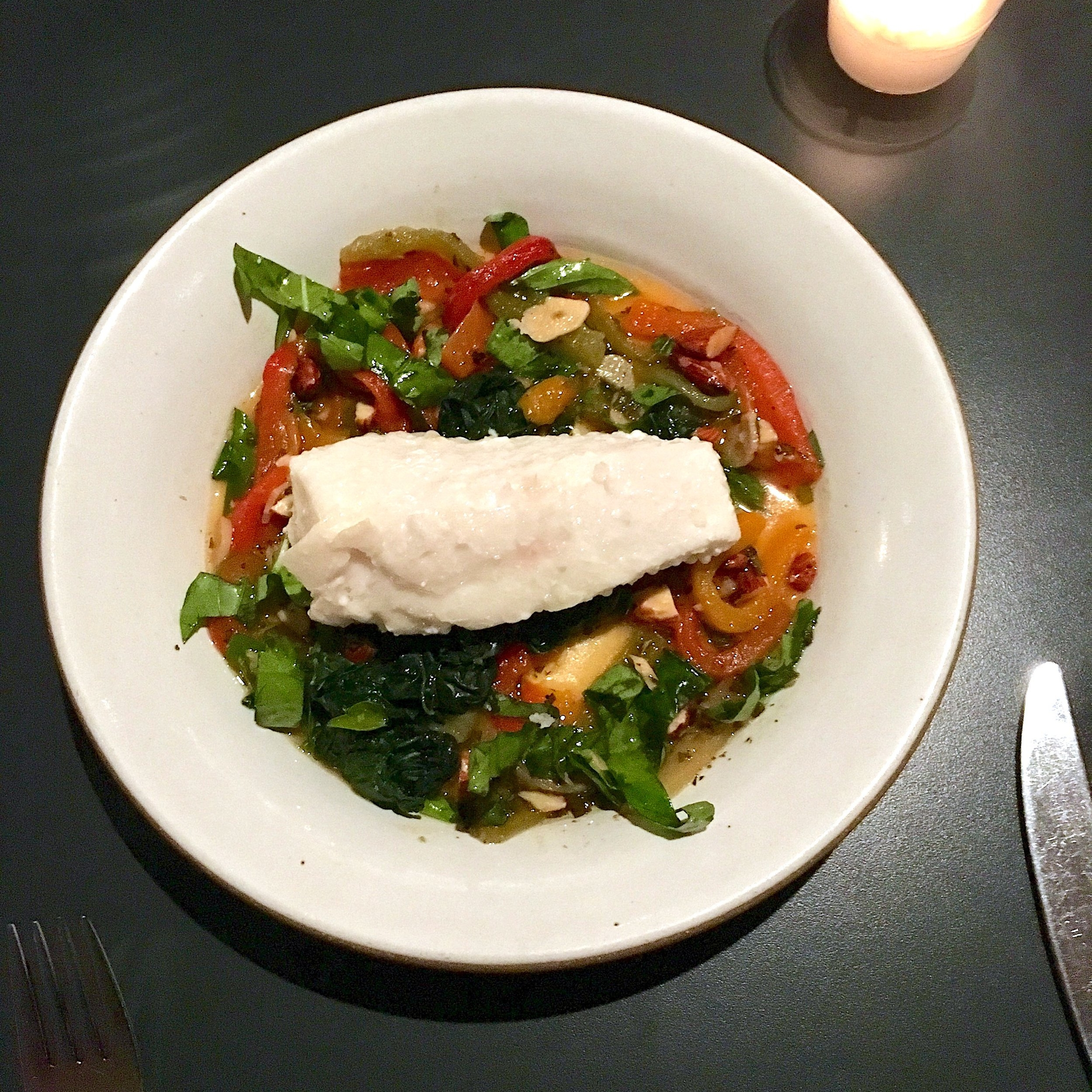 slow cooked halibut, roasted peppers, kale, almonds