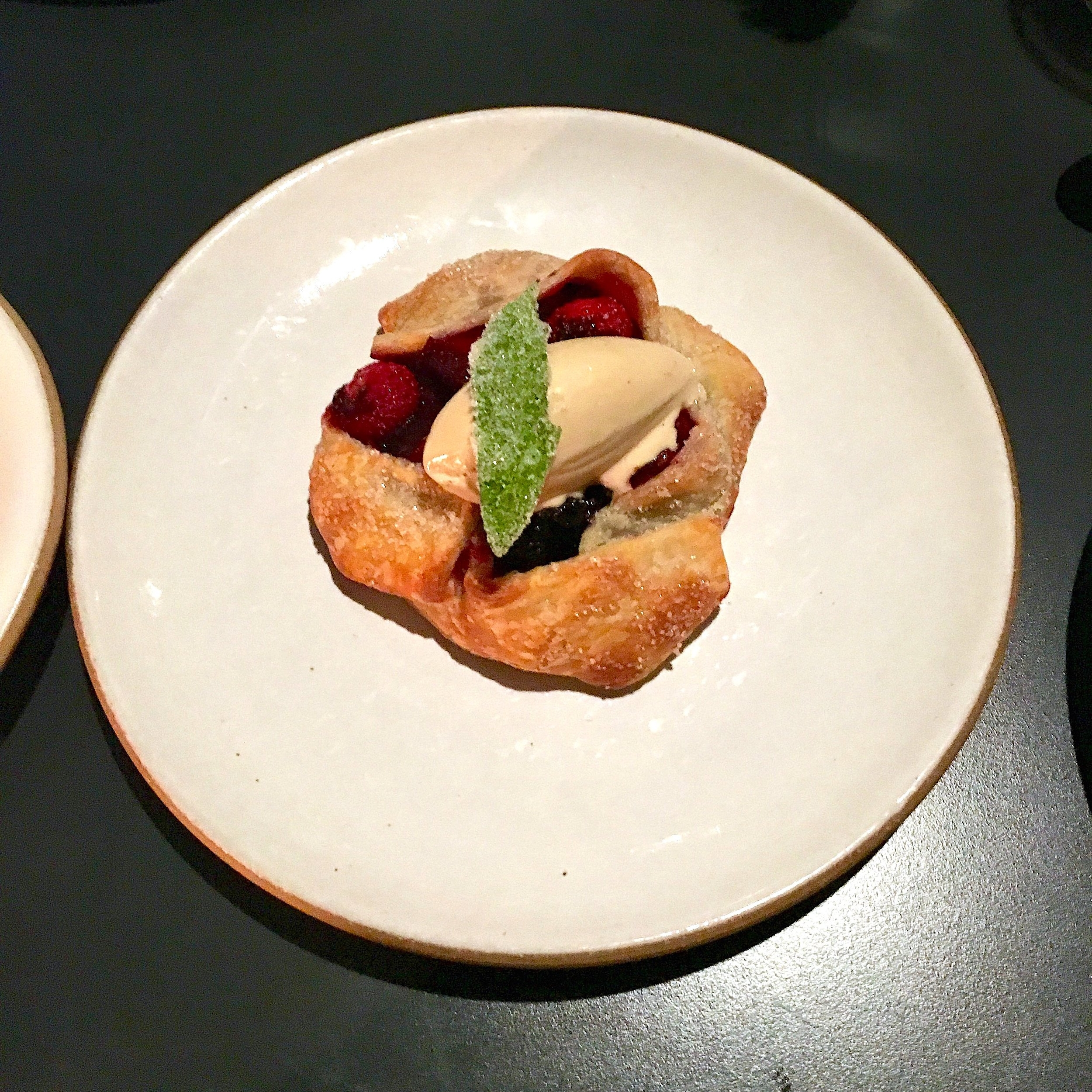 summer fruit crostata, black pepper ice cream