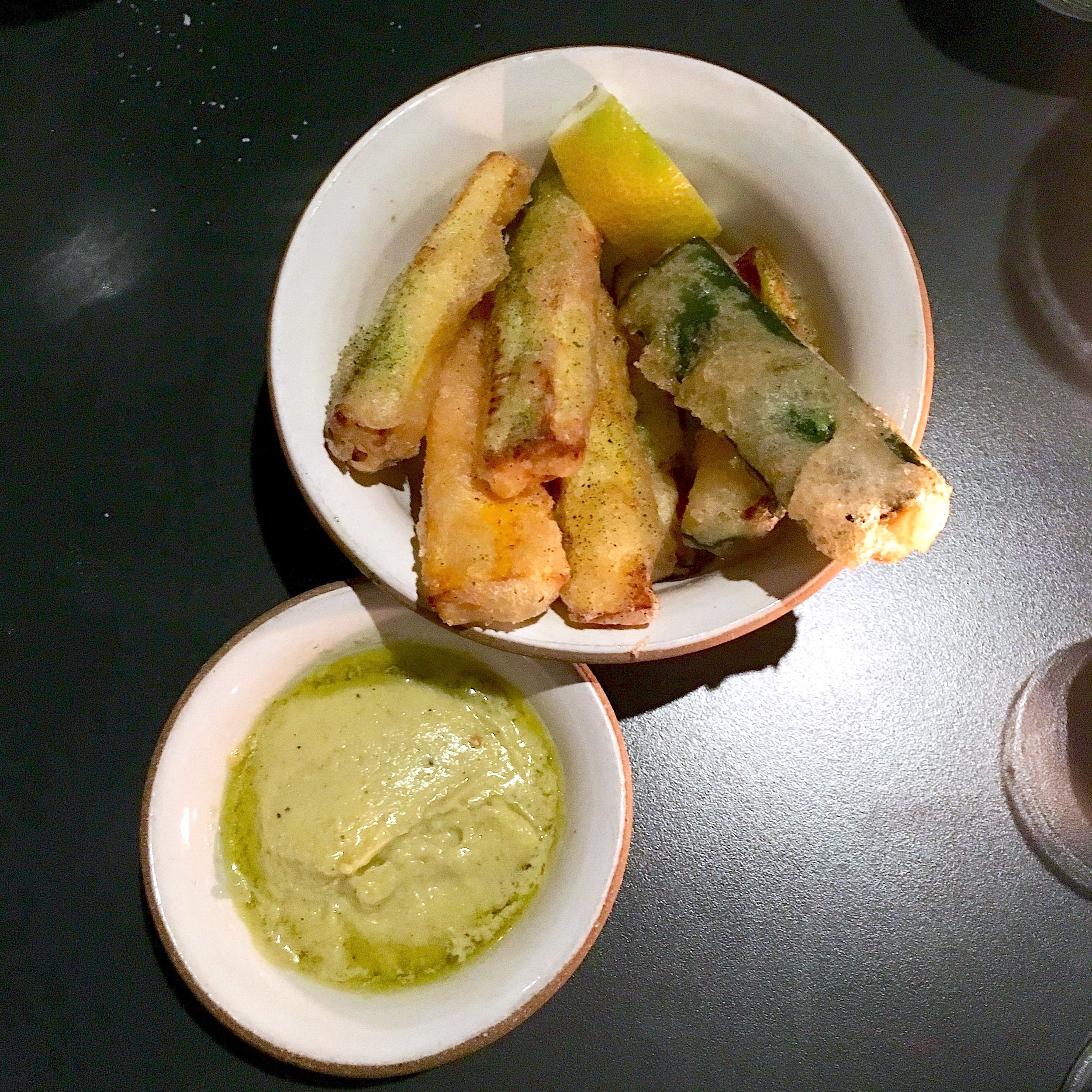 "zucchini ""fries"", lemon-parmesan dressing"