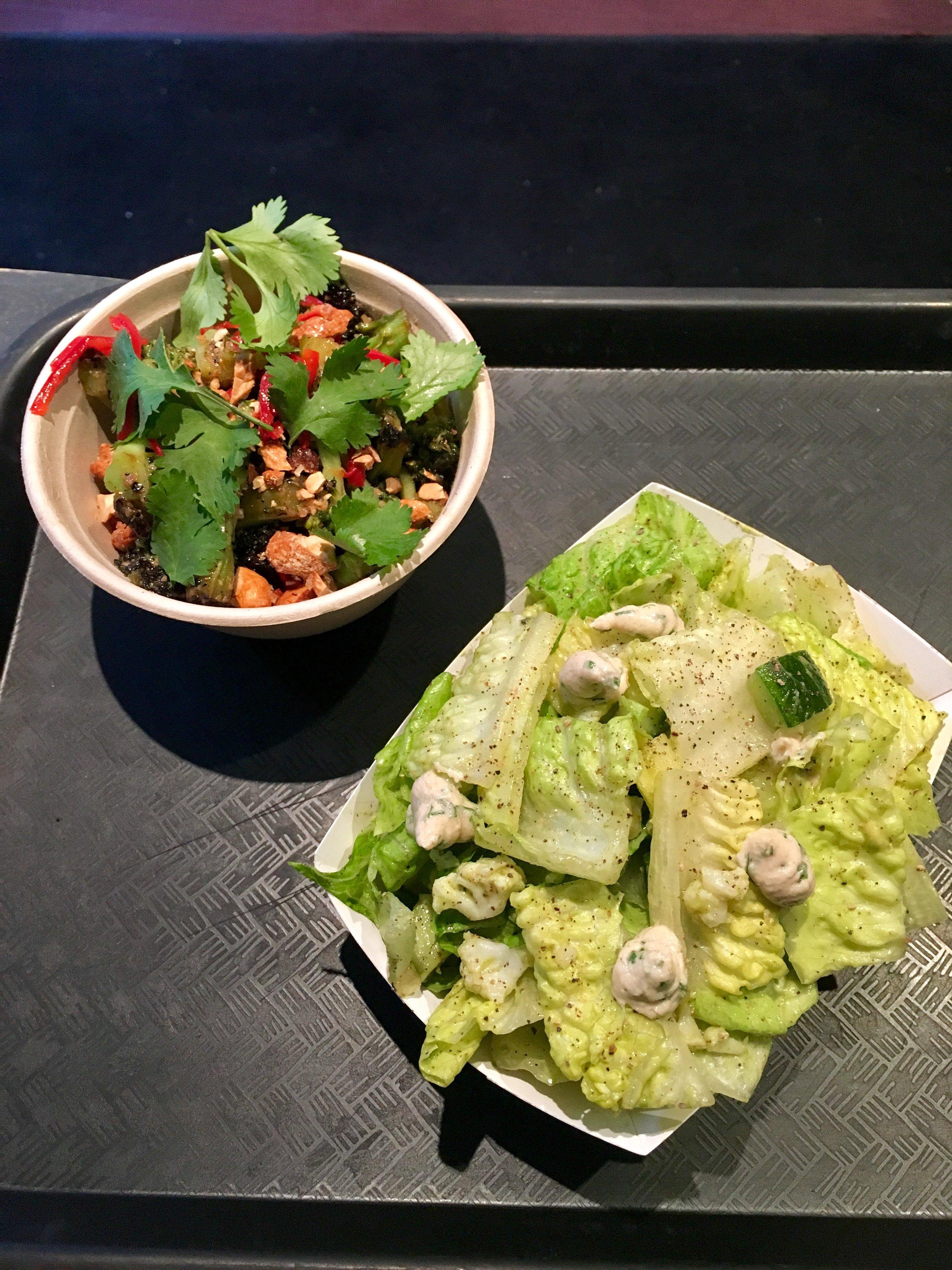 burnt broccoli salad // eggplant, red chile, coriander,cashews  tahini ranch romaine salad // cauliflower, sneaky avocado