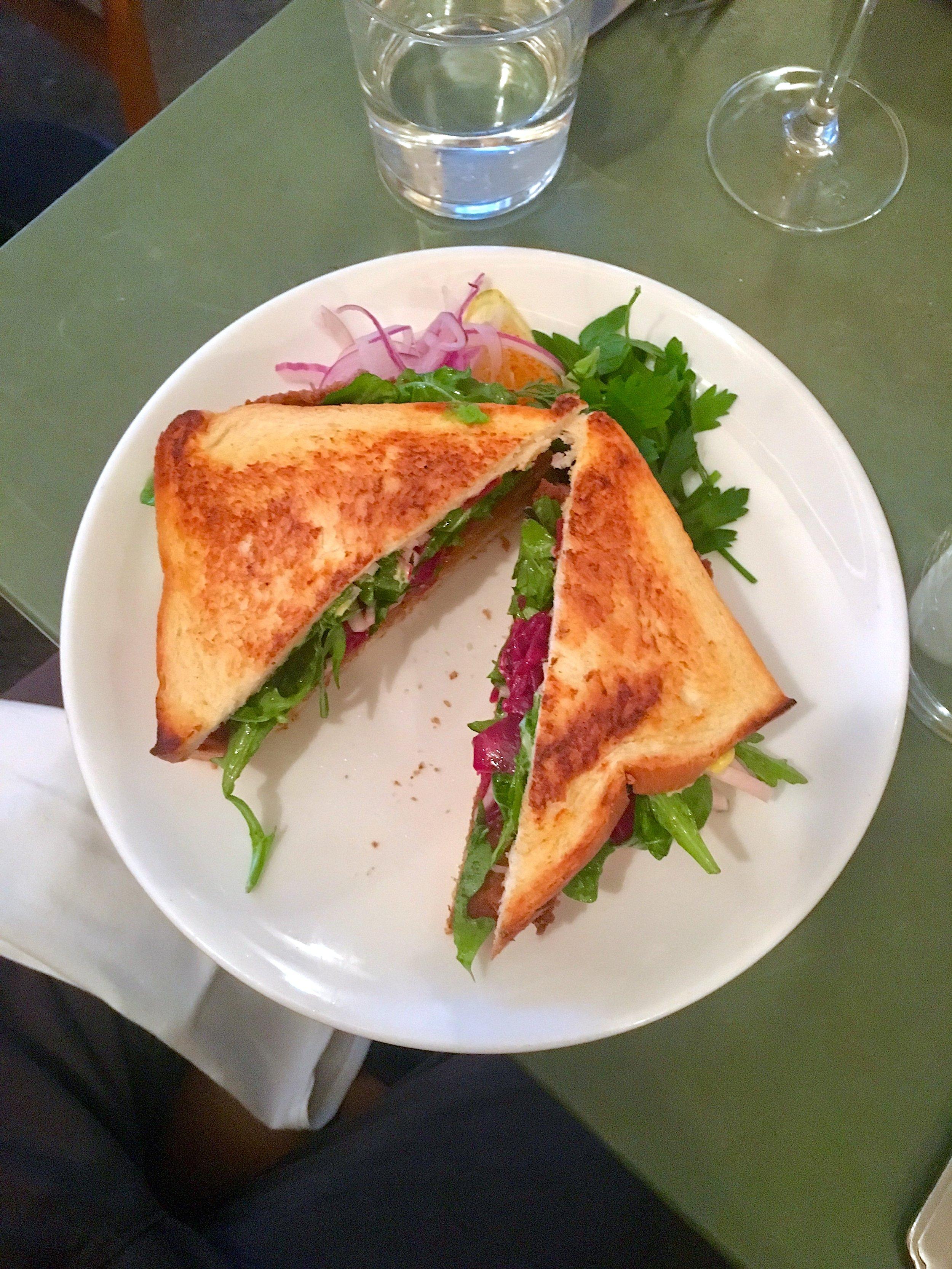 breaded pork cutlet sandwich // tonkatsu sauce, watercress, fermented cabbage
