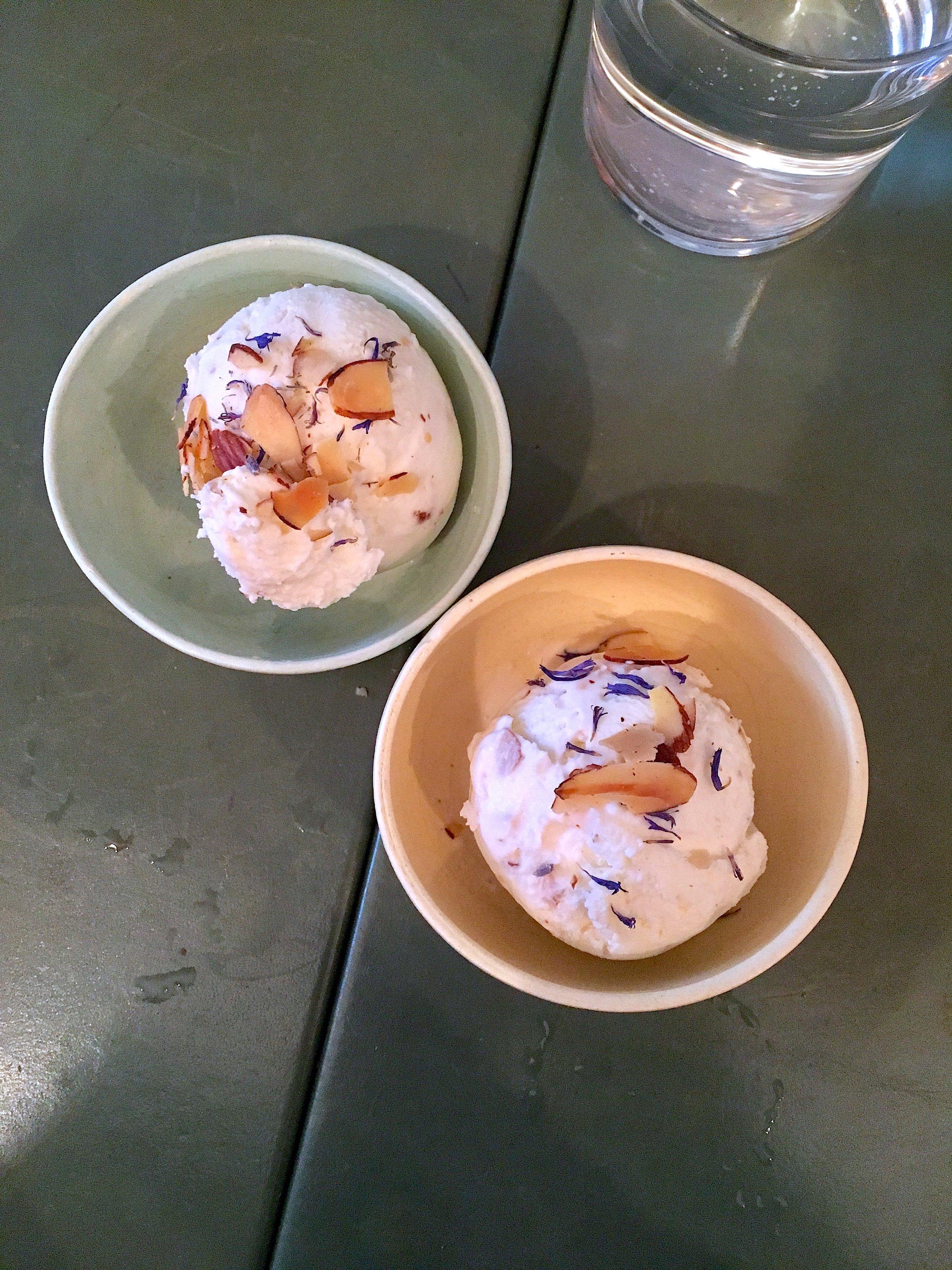 raw milk ice cream // almonds, lavender