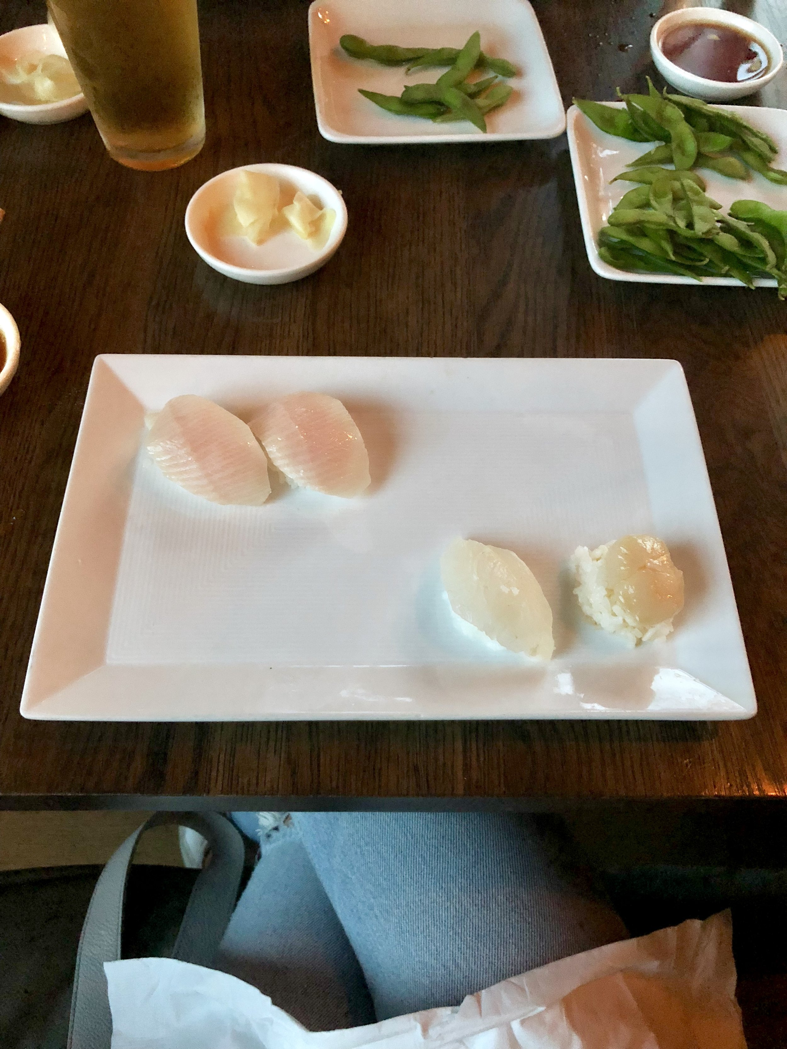 yellowtail, snapper, and scallop sushi
