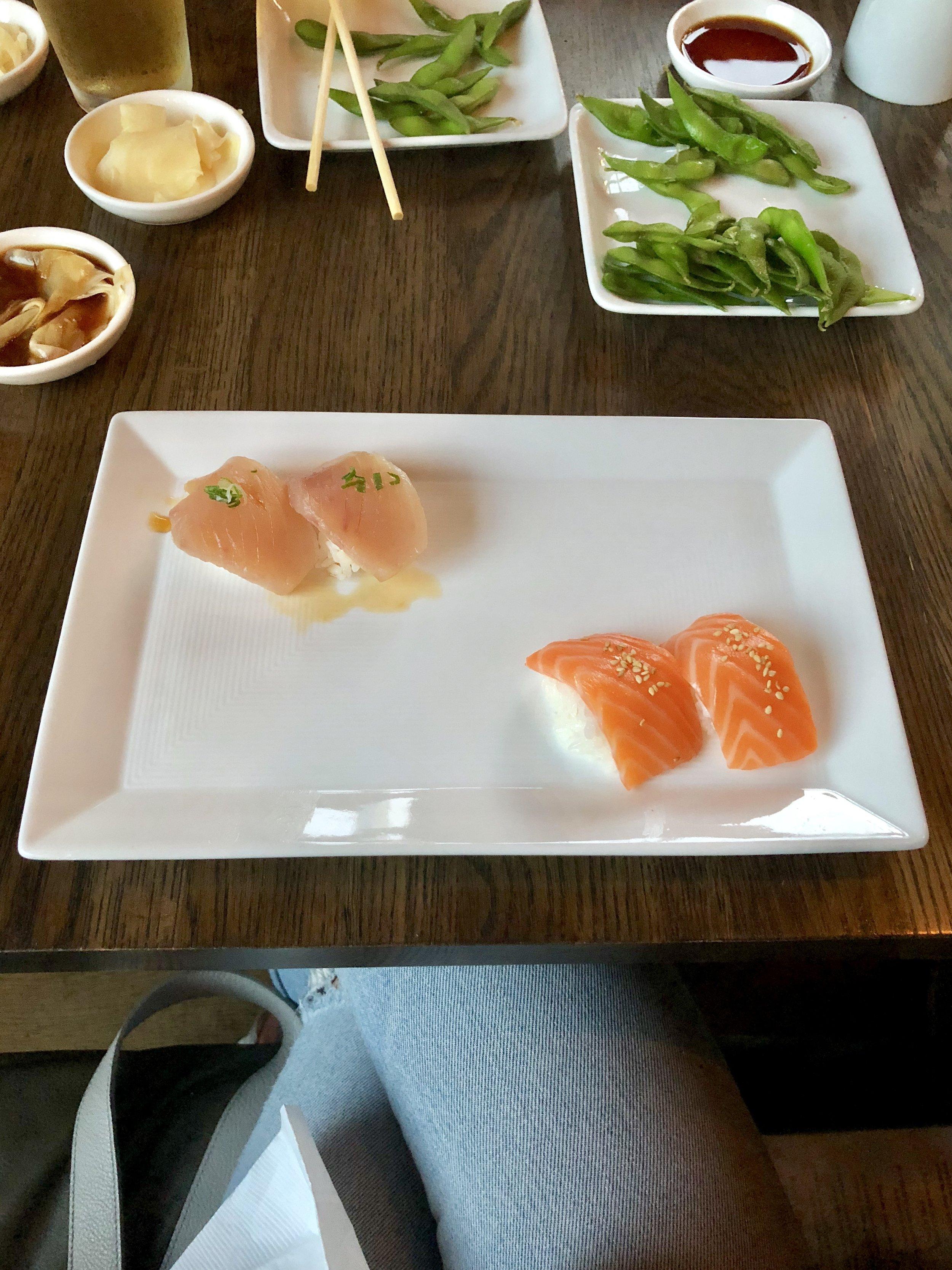 albacore and salmon sushi