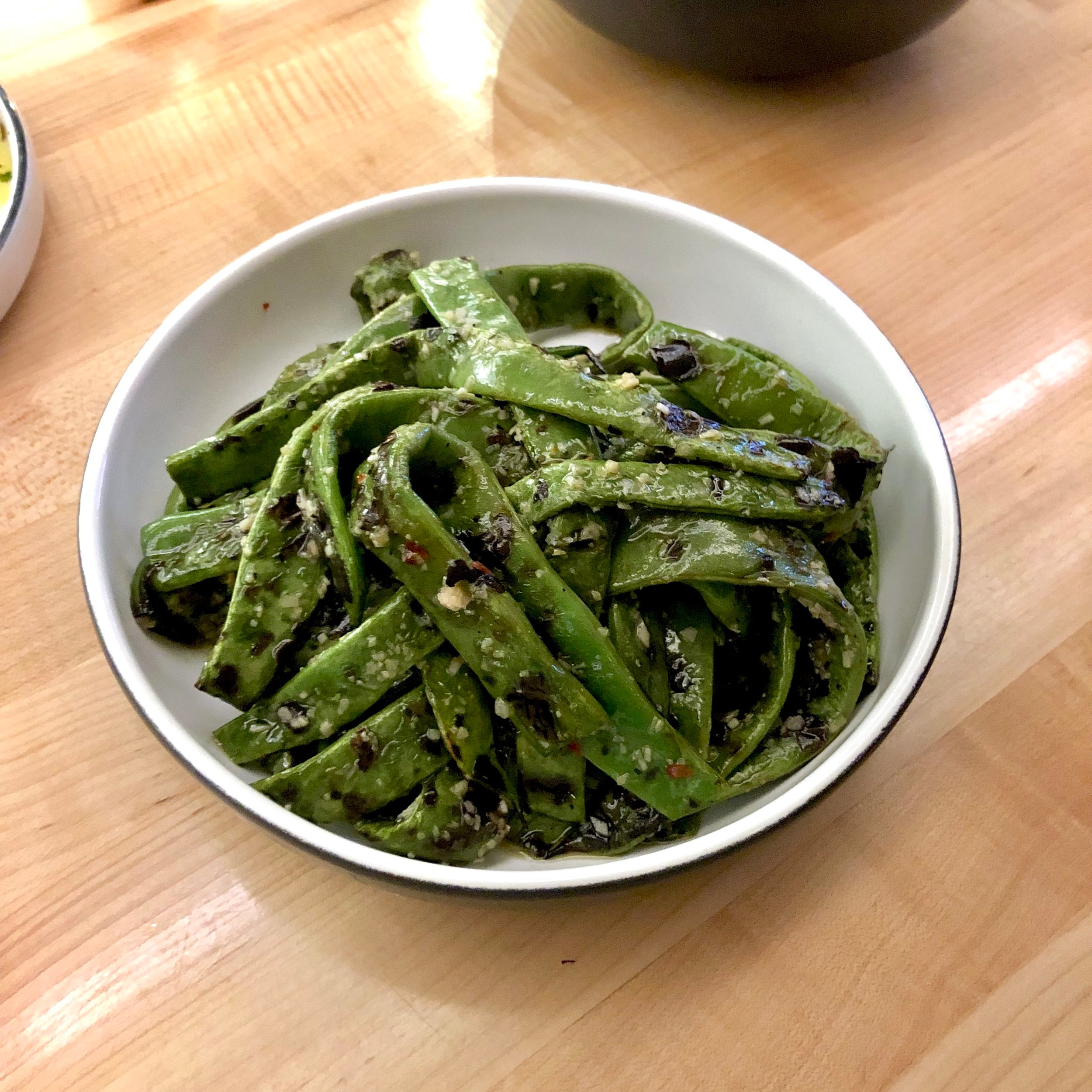 grilled runner beans, garlic vinaigrette, chilies