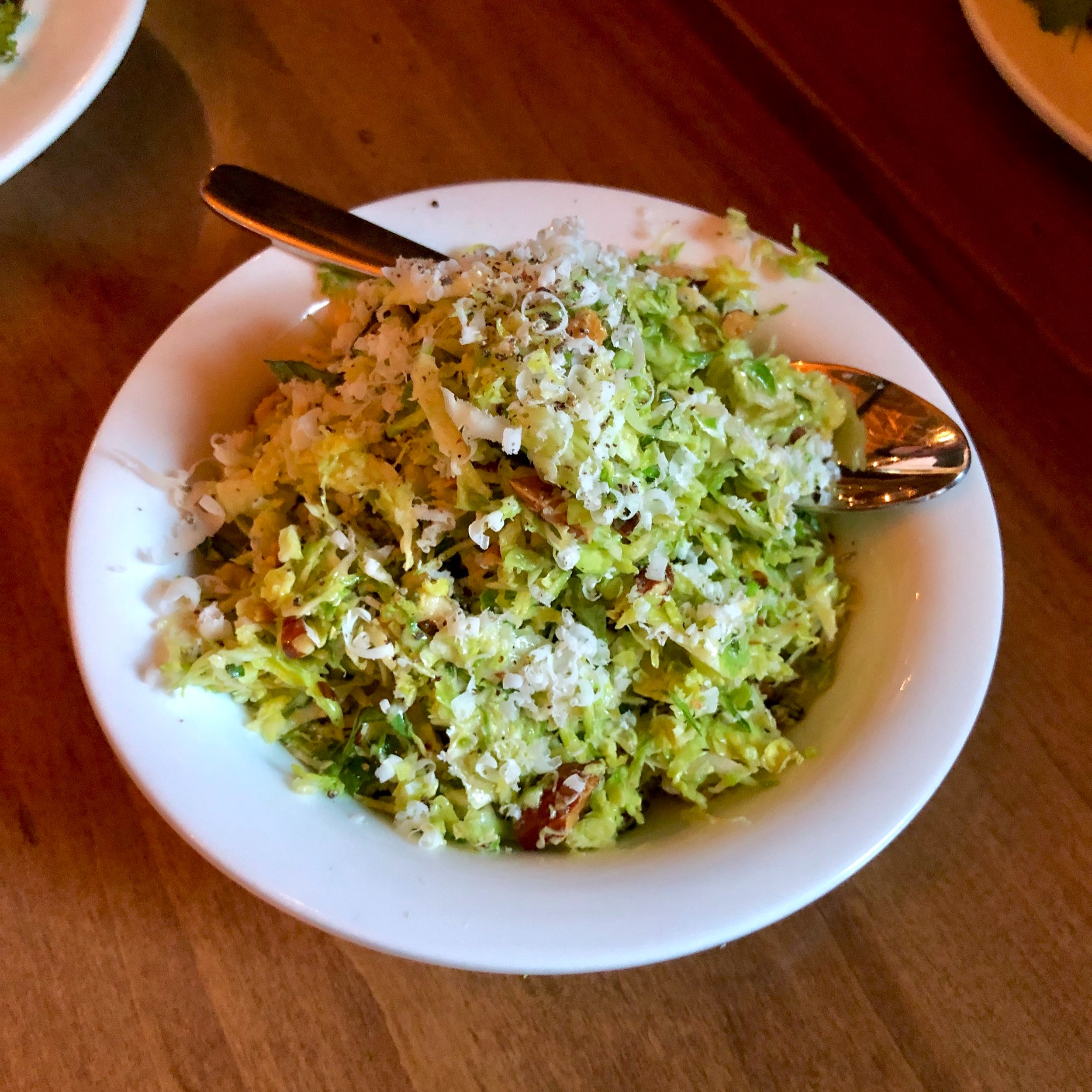 shaved brussels sprouts, toasted almonds, mint, lemon, parmigiana reggiano
