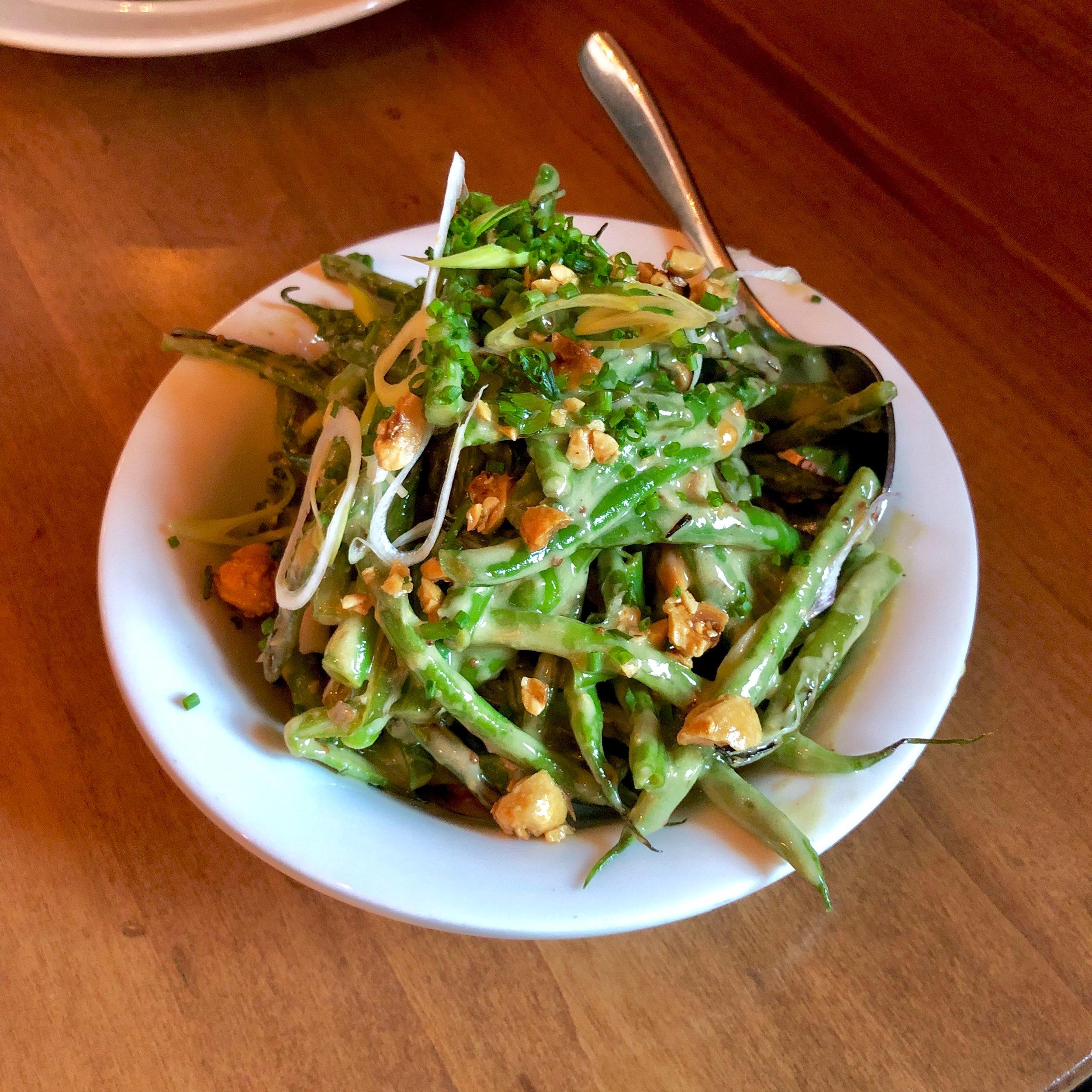 cool haricot verts, fresh serrano chili, toasted hazelnuts, frenchie vinaigrette
