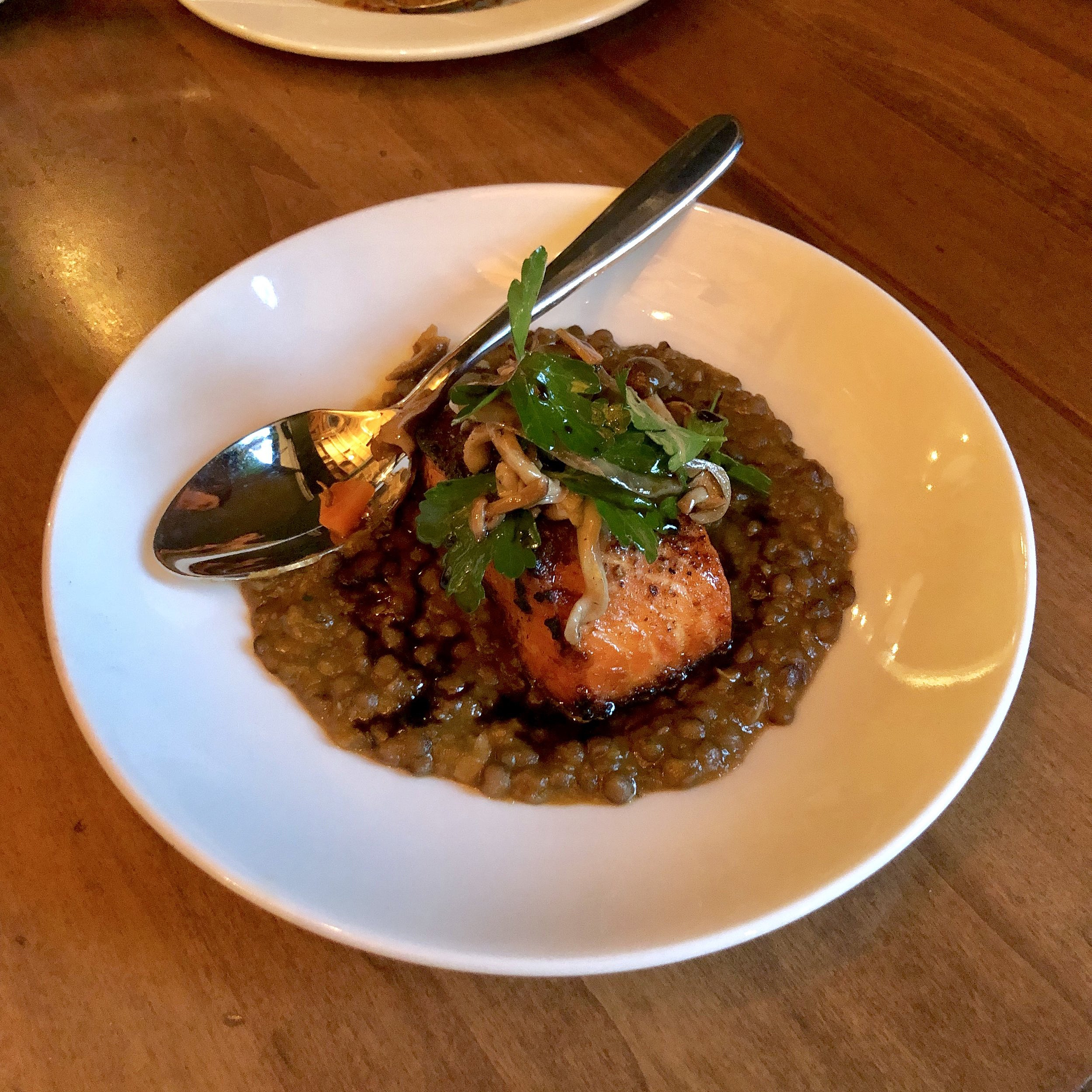 "cedar smoked ocean trout, umbrian lentils in soffrito, mushrooms ""a la grecque"""