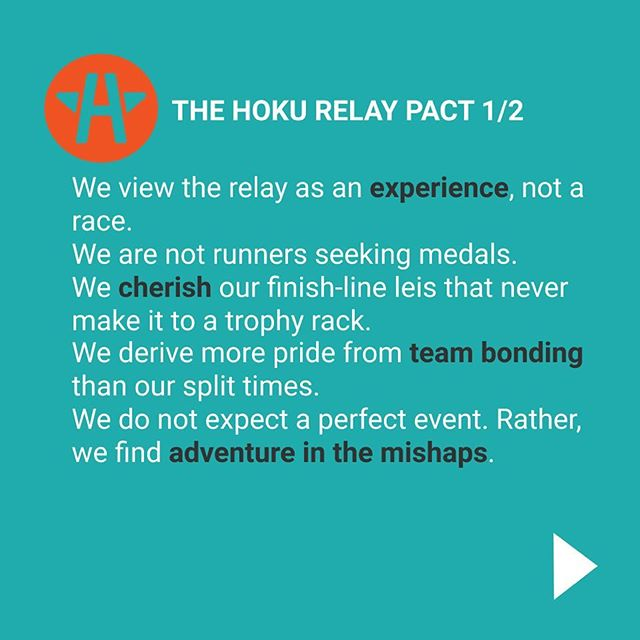 Check out the #hokurelay pact! 📝 Say it loud and proud 🙌 📣 🎤 Our event is about having fun with a new community, learning how far you can go, discovering nature, and driving real social change. We can't wait to experience 134 miles of Aloha together very soon 😊💙👣🌟