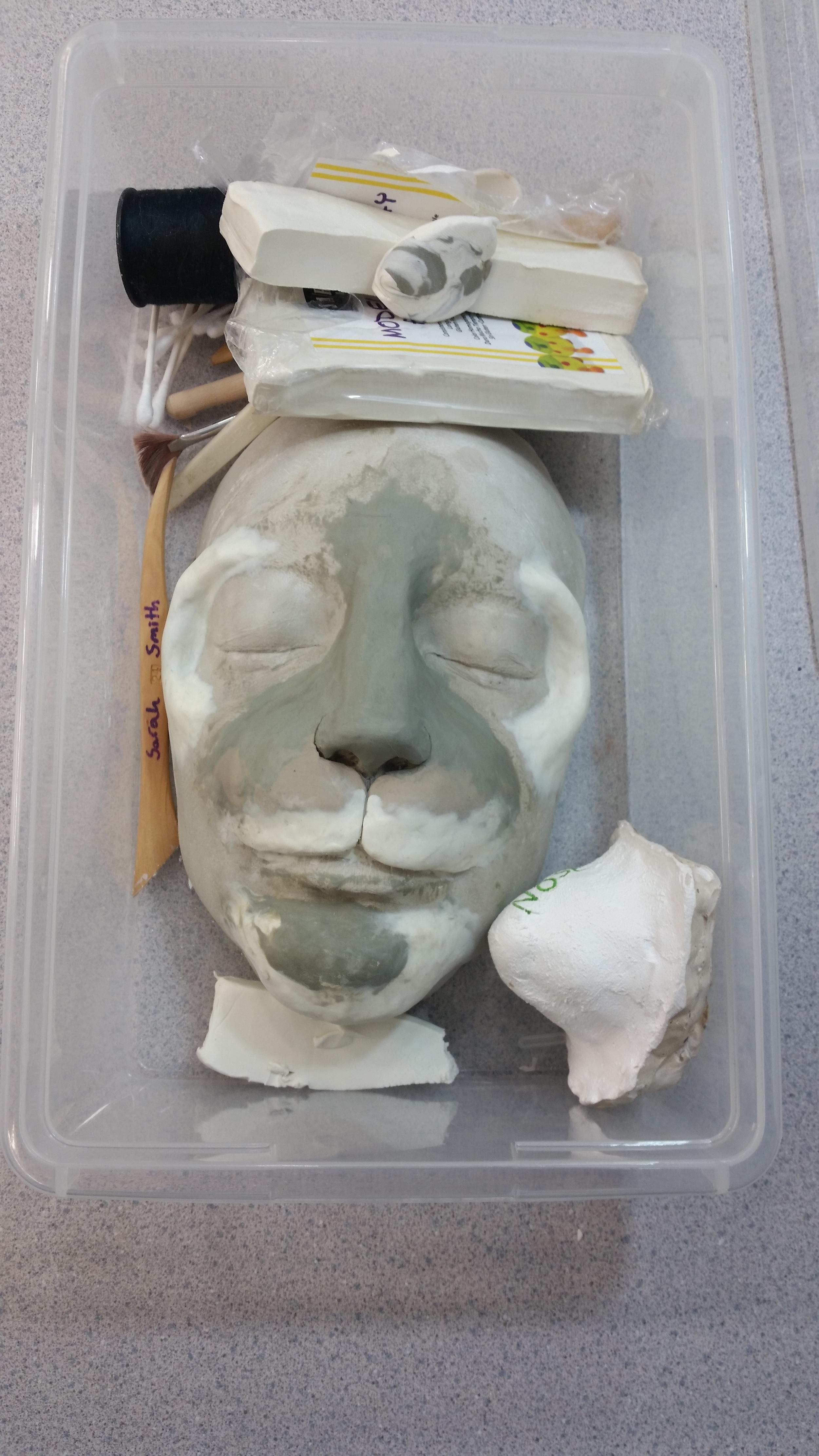 plastecine building on plaster face cast